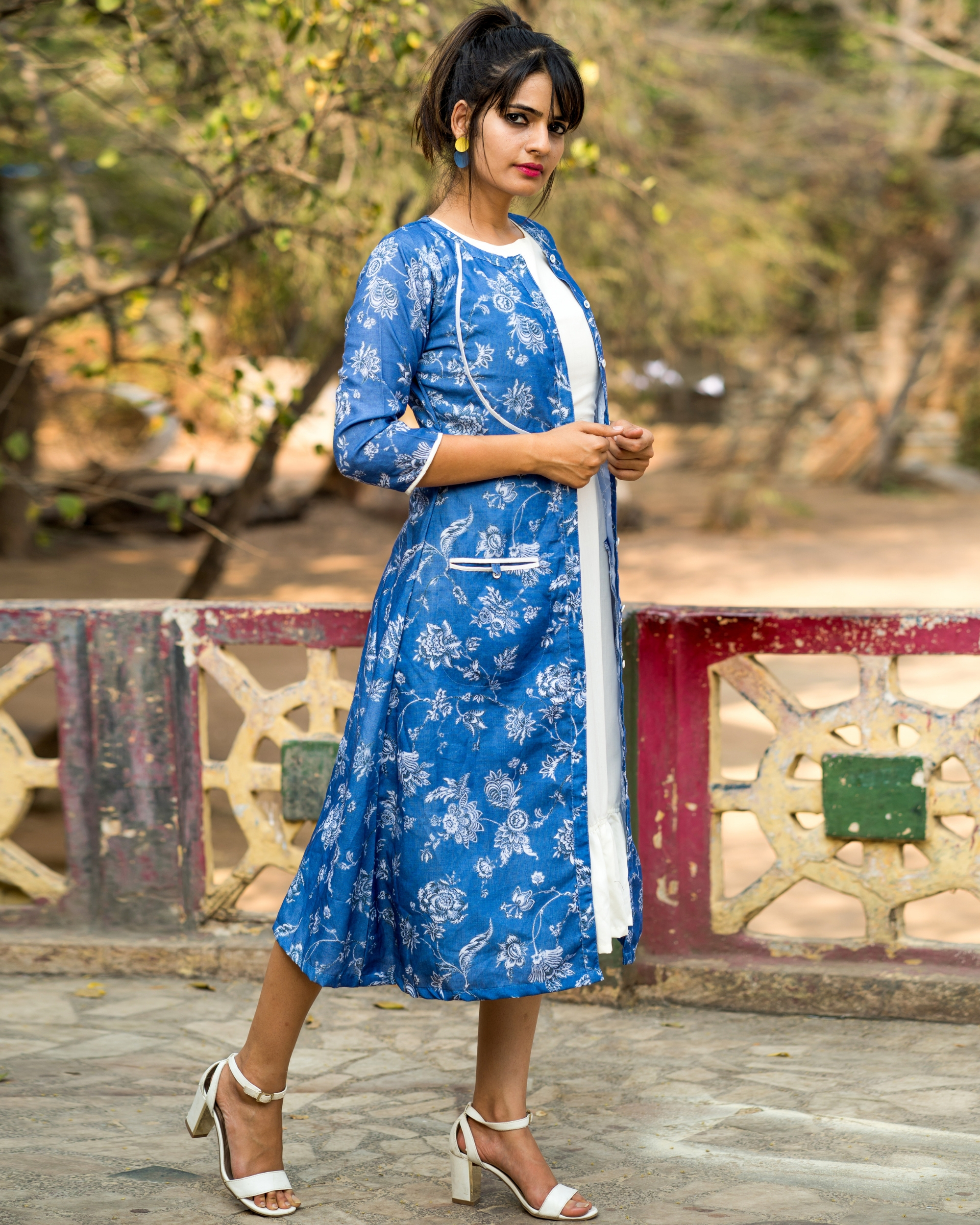 Blue printed jacket with dress