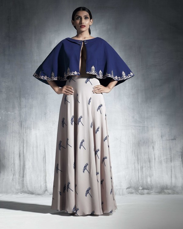 Ecru georgette silk skirt