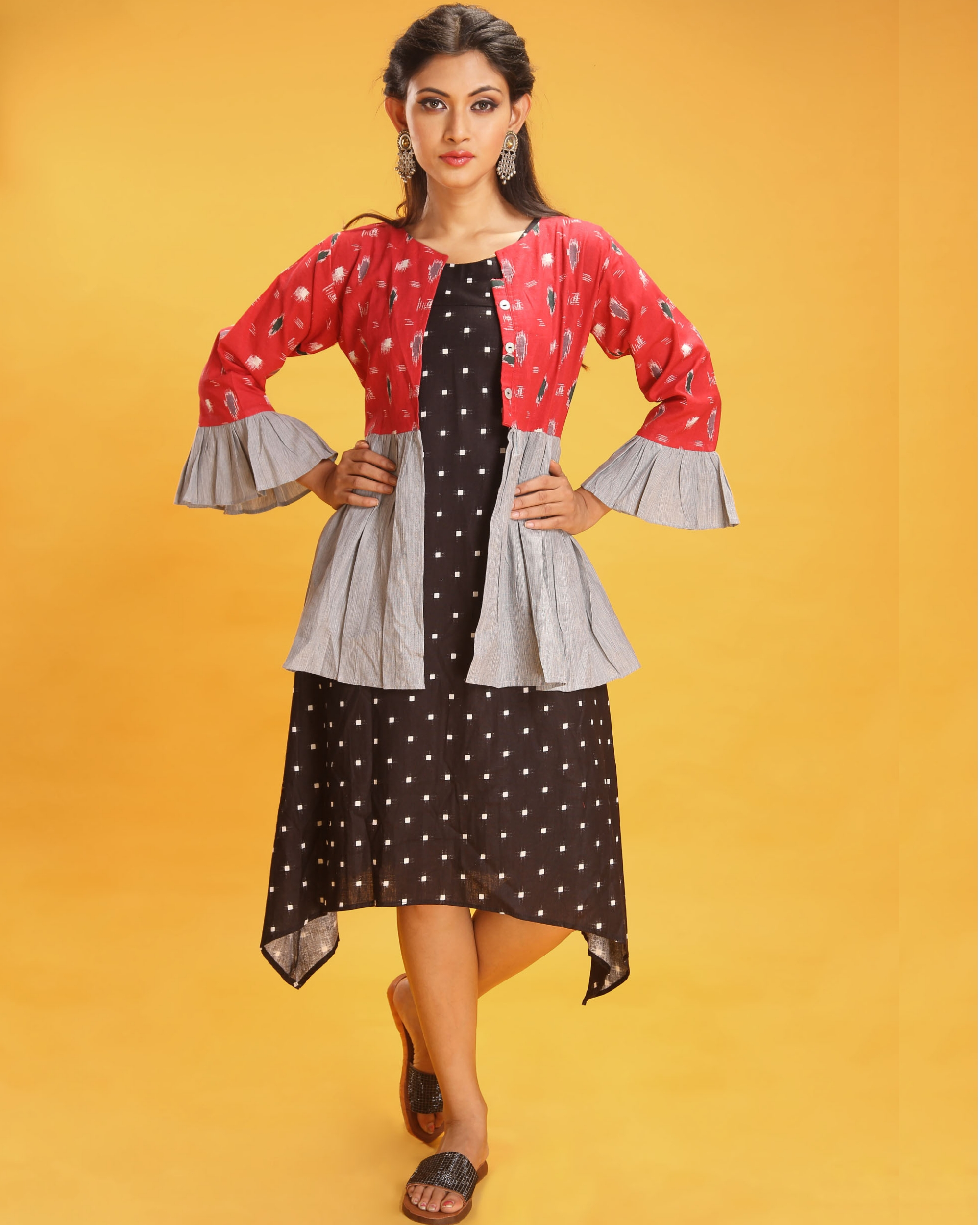 Black and red cotton kurta with short jacket