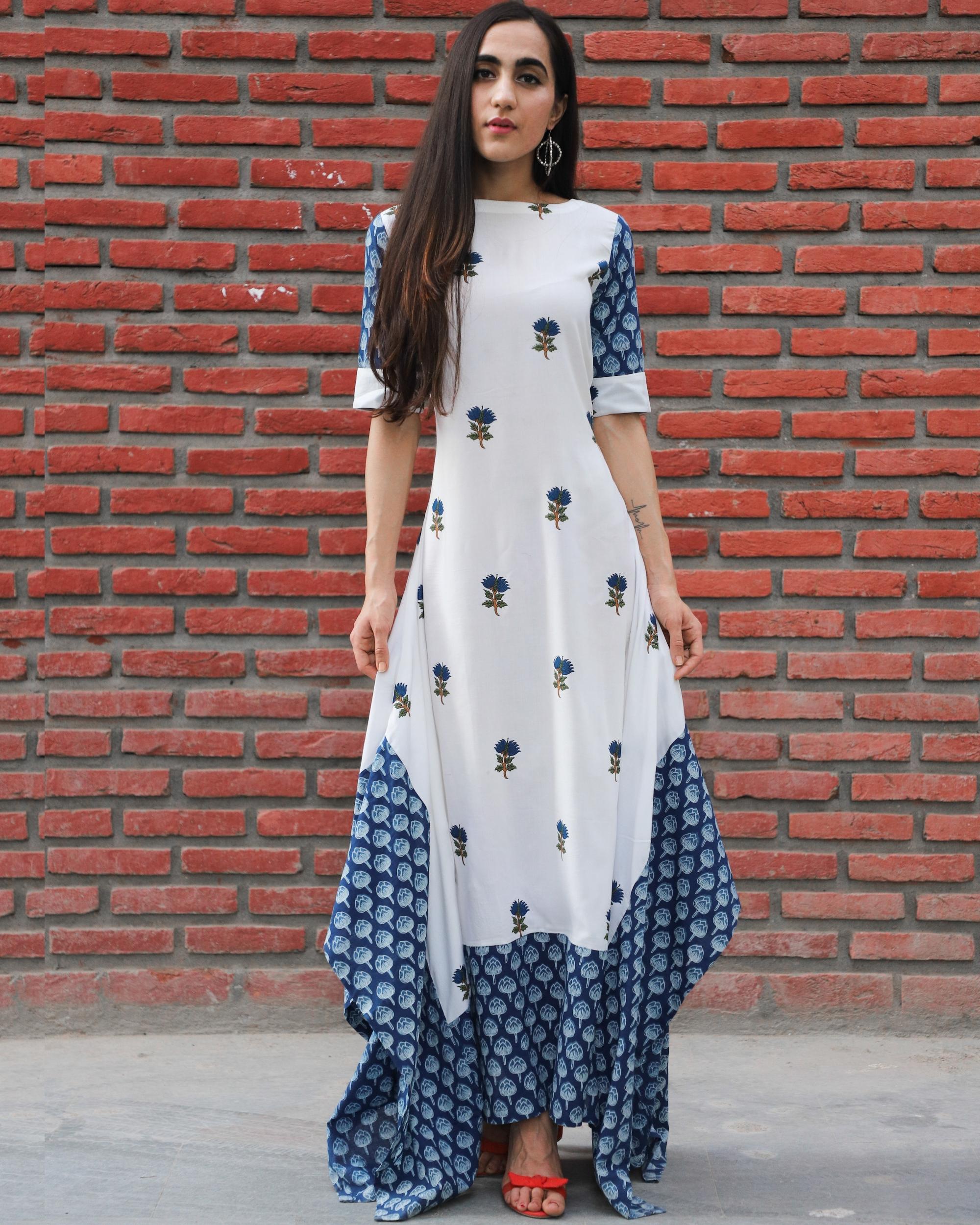 Blue mughal printed cotton dress