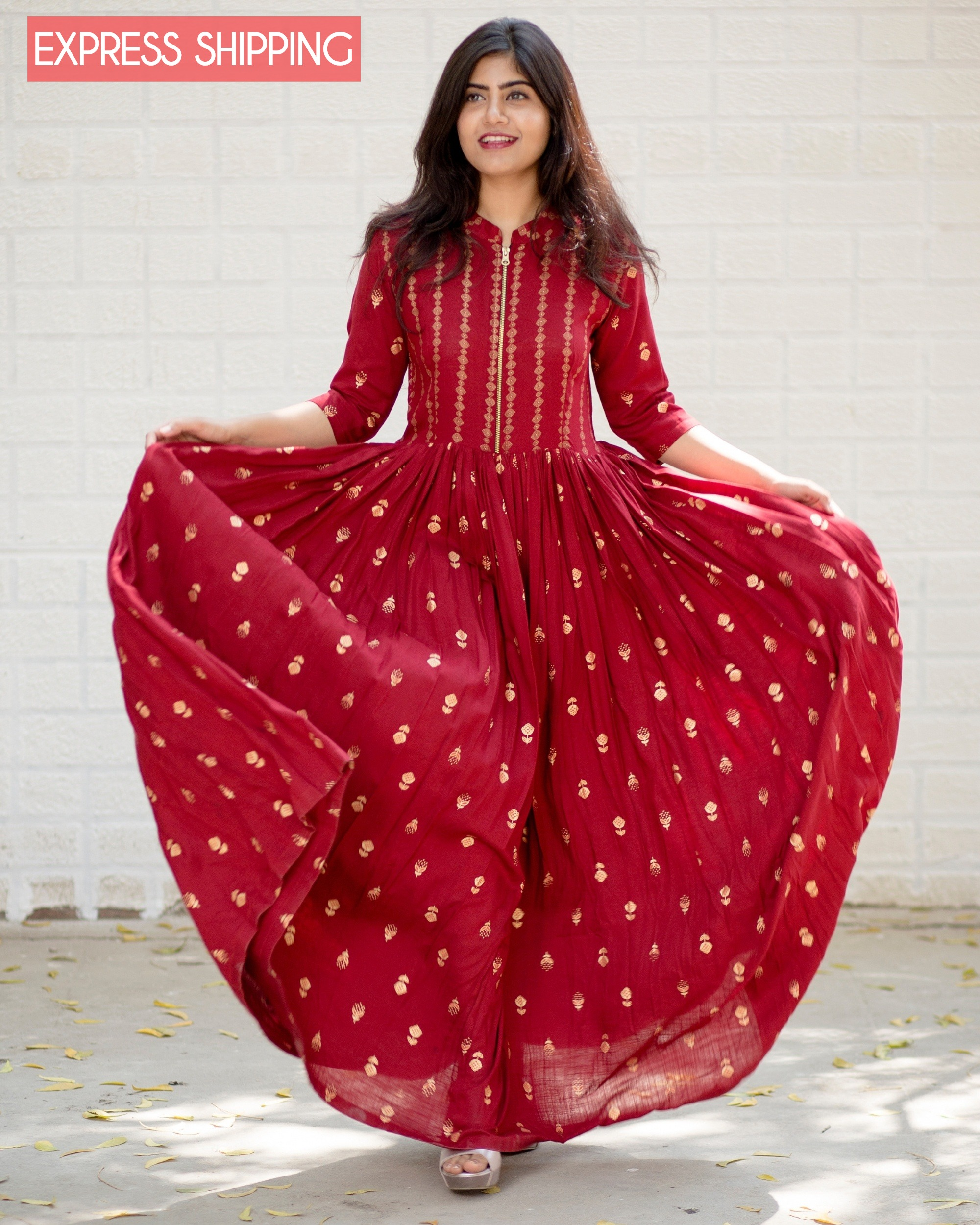 Red block printed flared dress