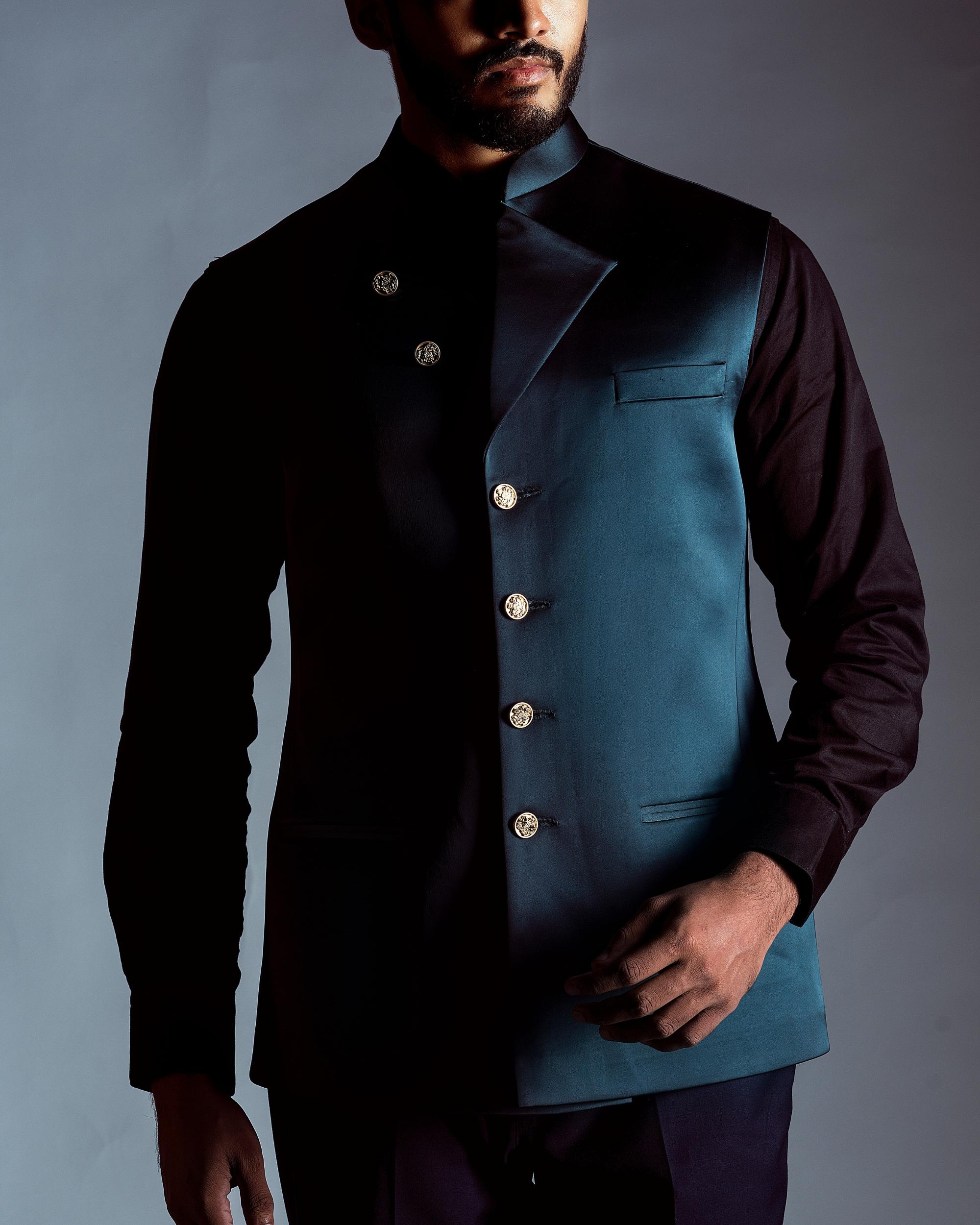 Teal blue nehru jacket