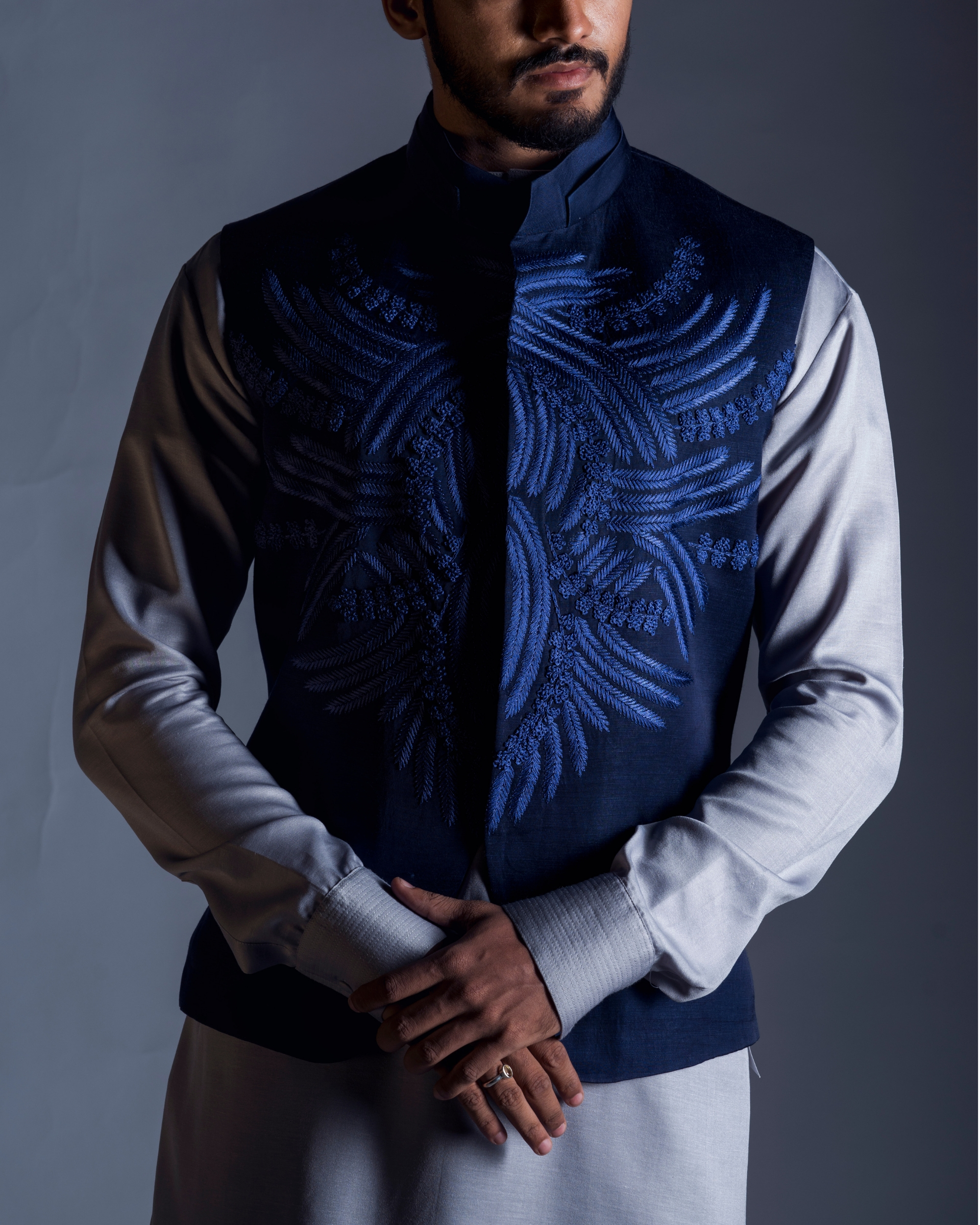 Navy blue embroidered coat