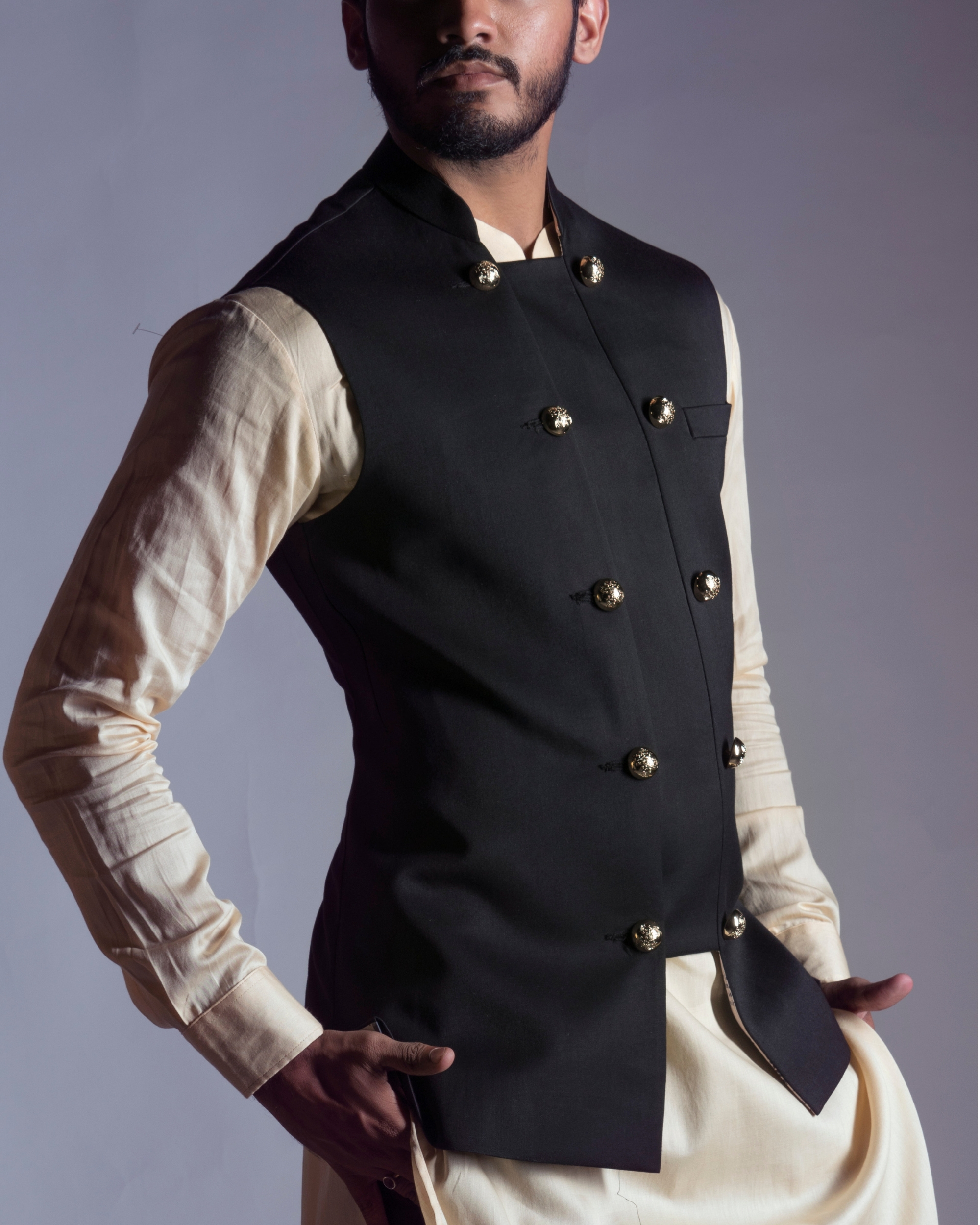 Black antique nehru coat