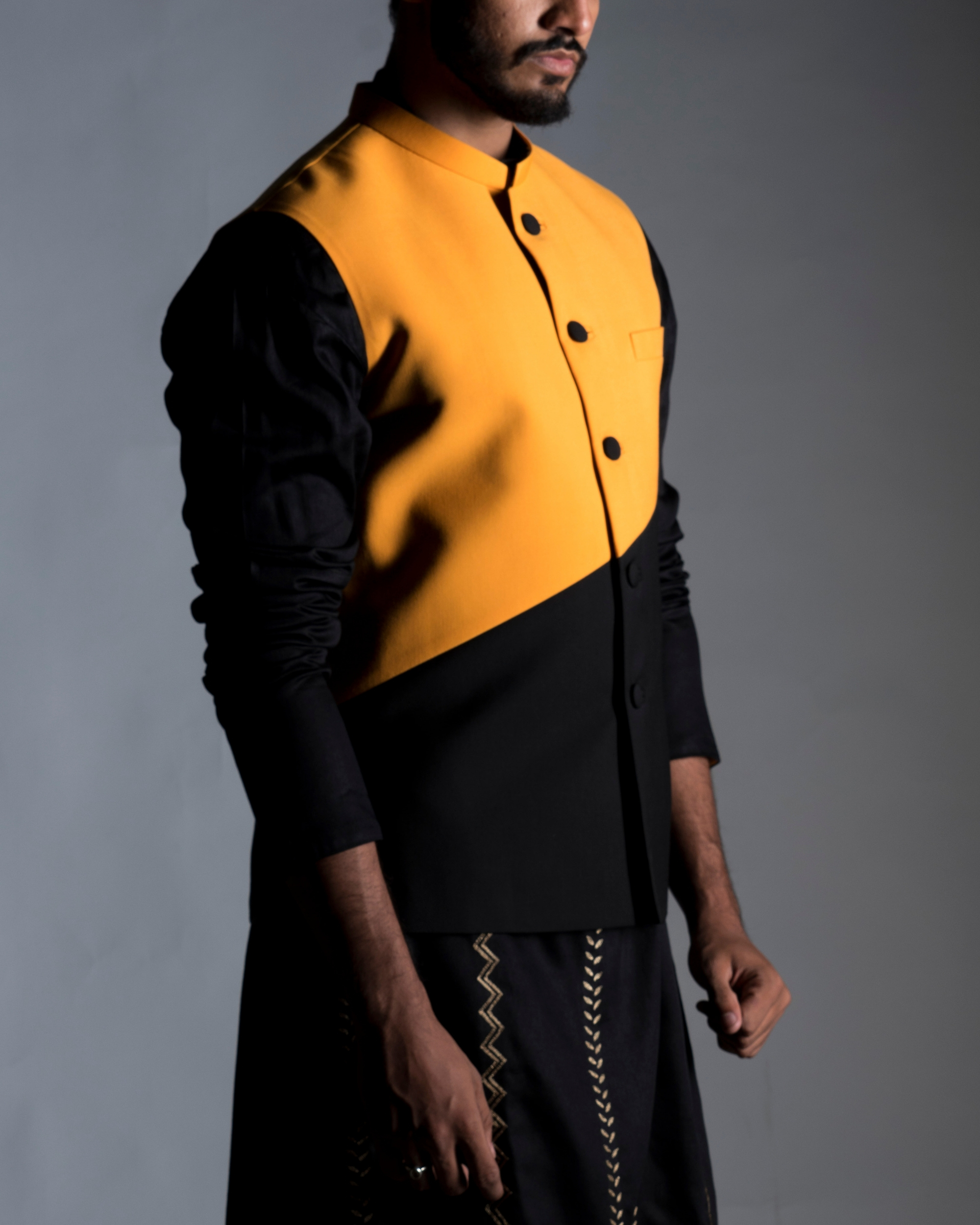 Colour block nehru jacket