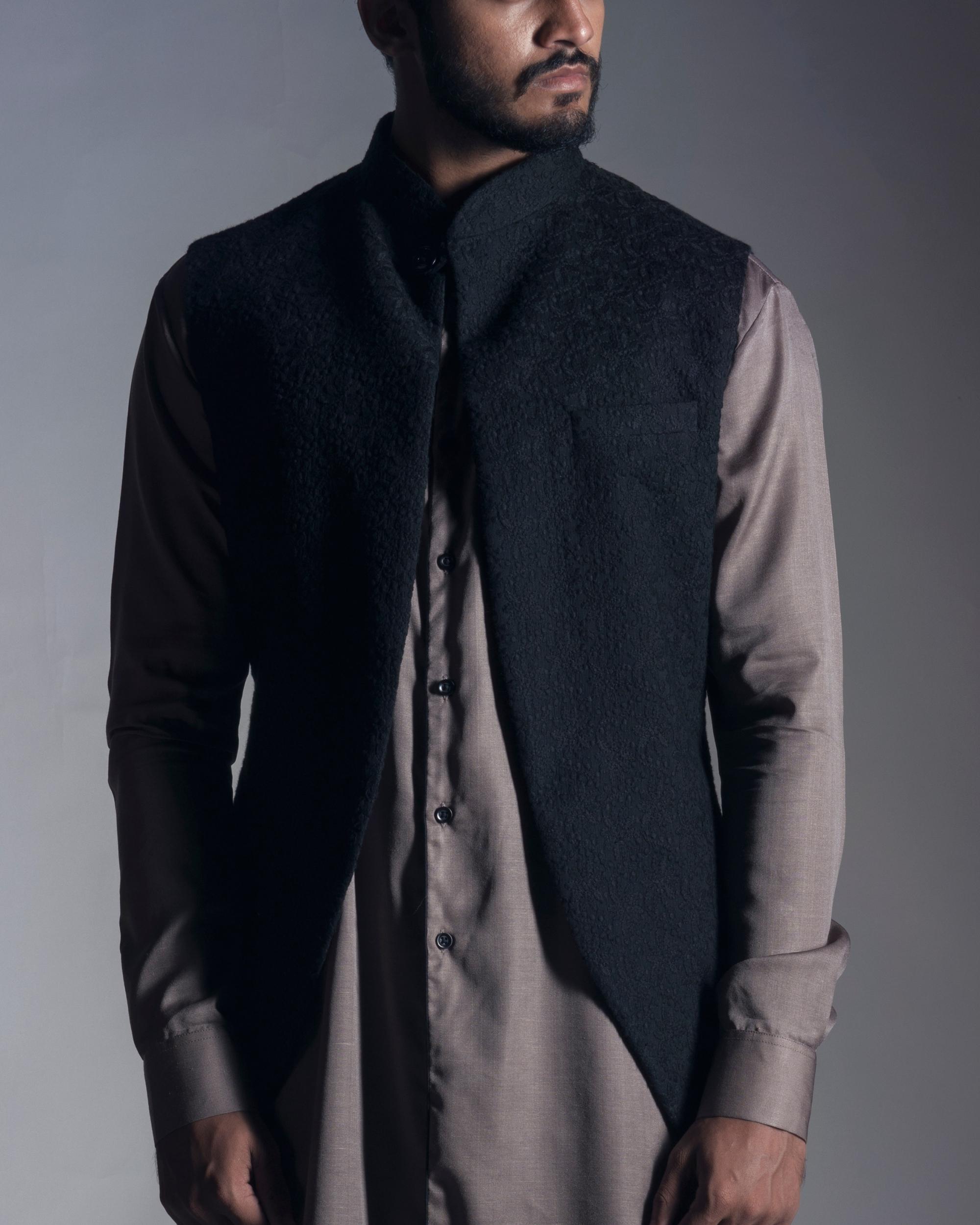 Jet black chikankari nehru jacket