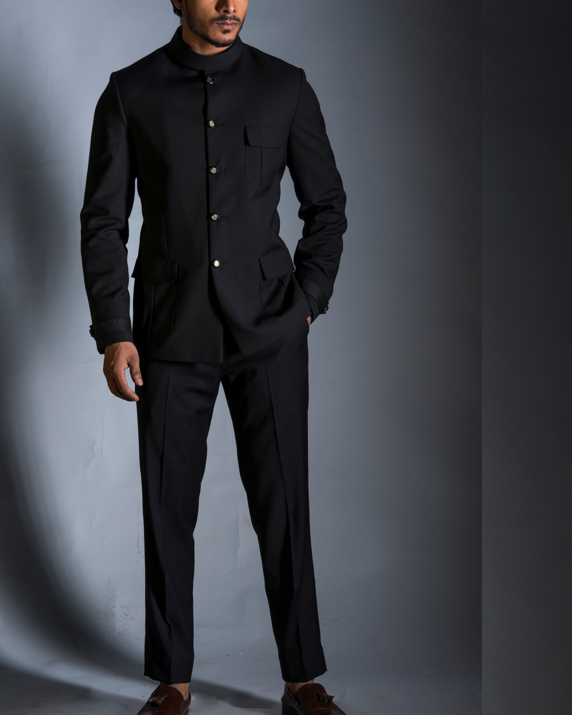 Classic black jacket with trousers