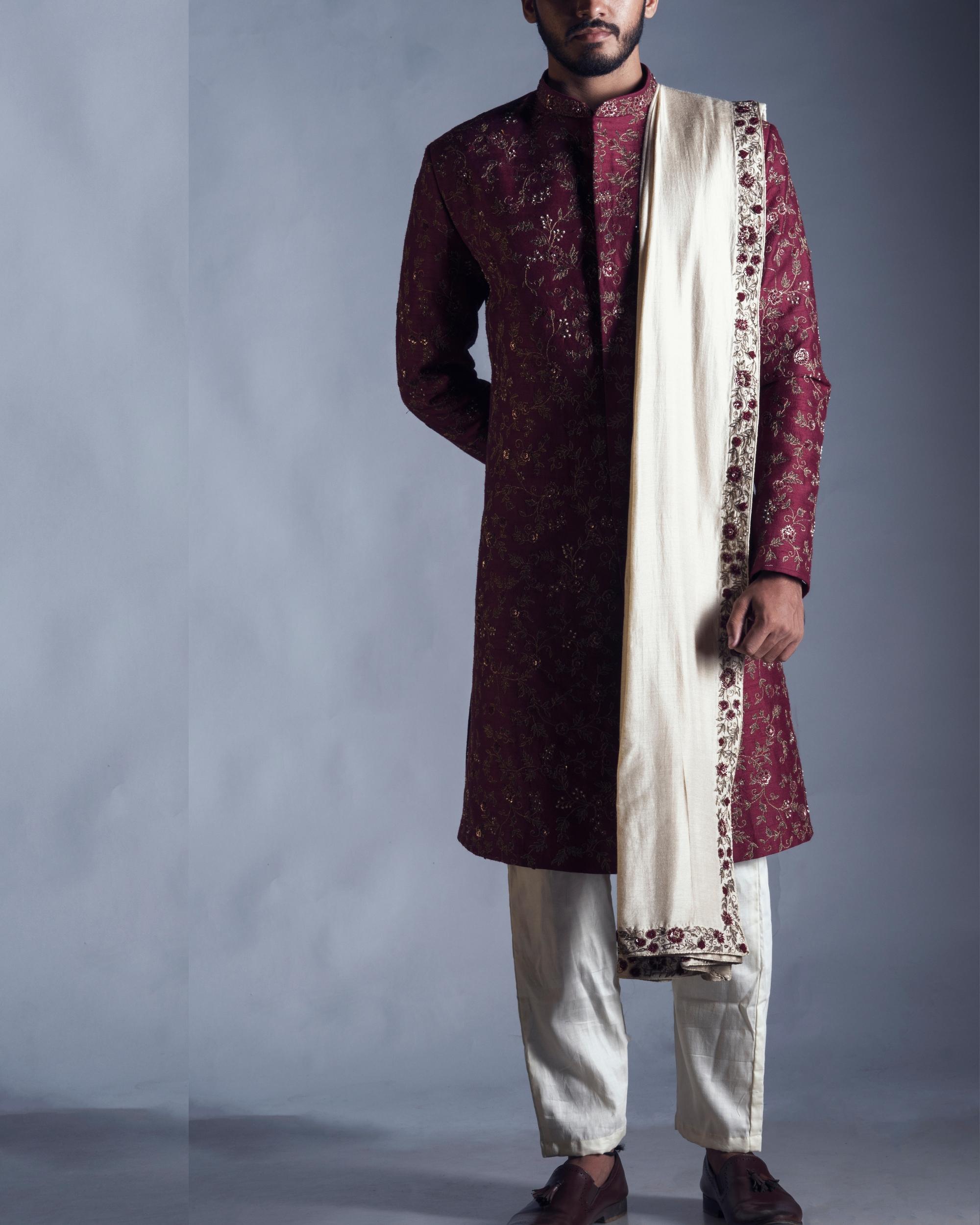 Raw silk maroon sherwani with dupatta and chudidar