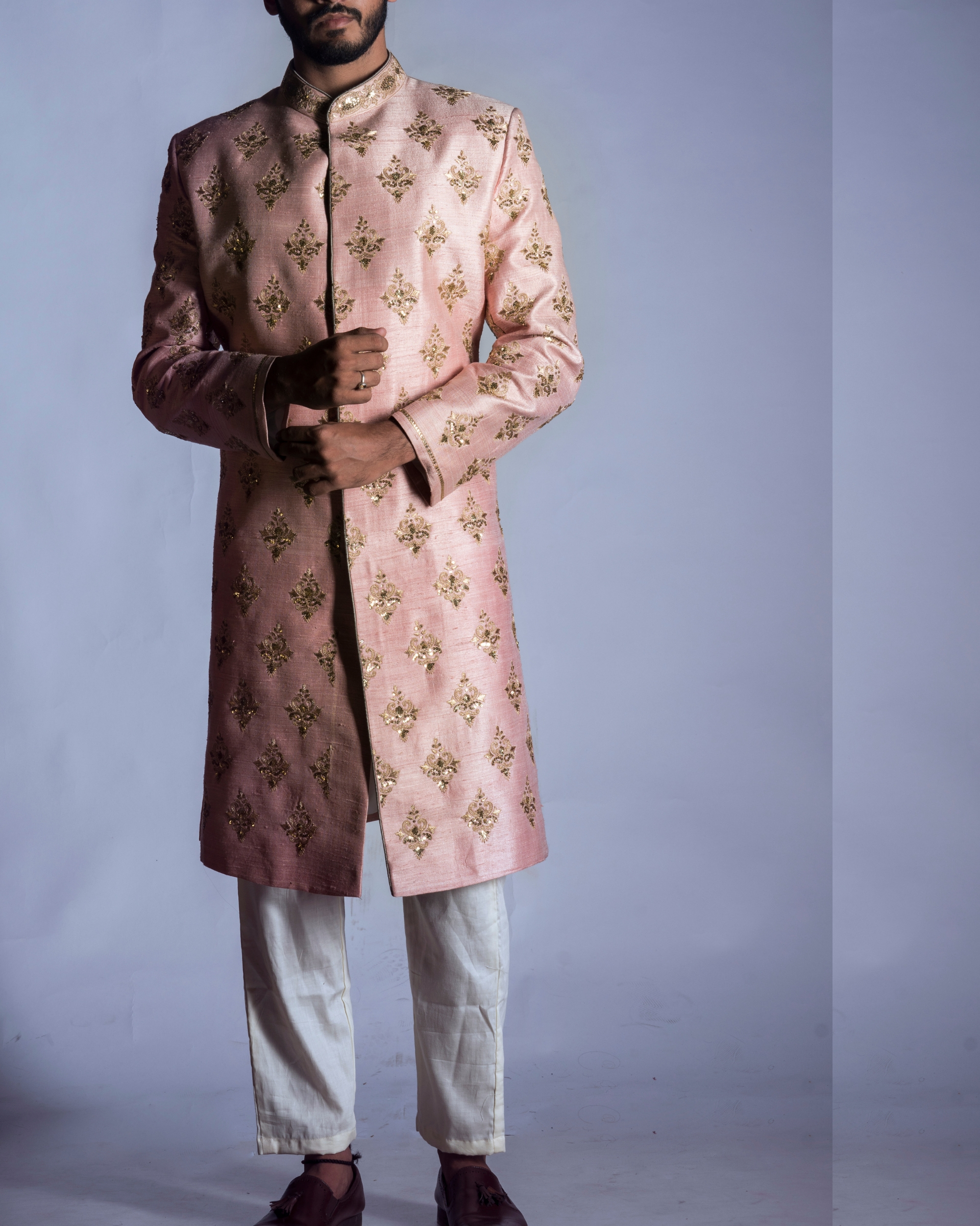 Light pink sherwani with chudidar