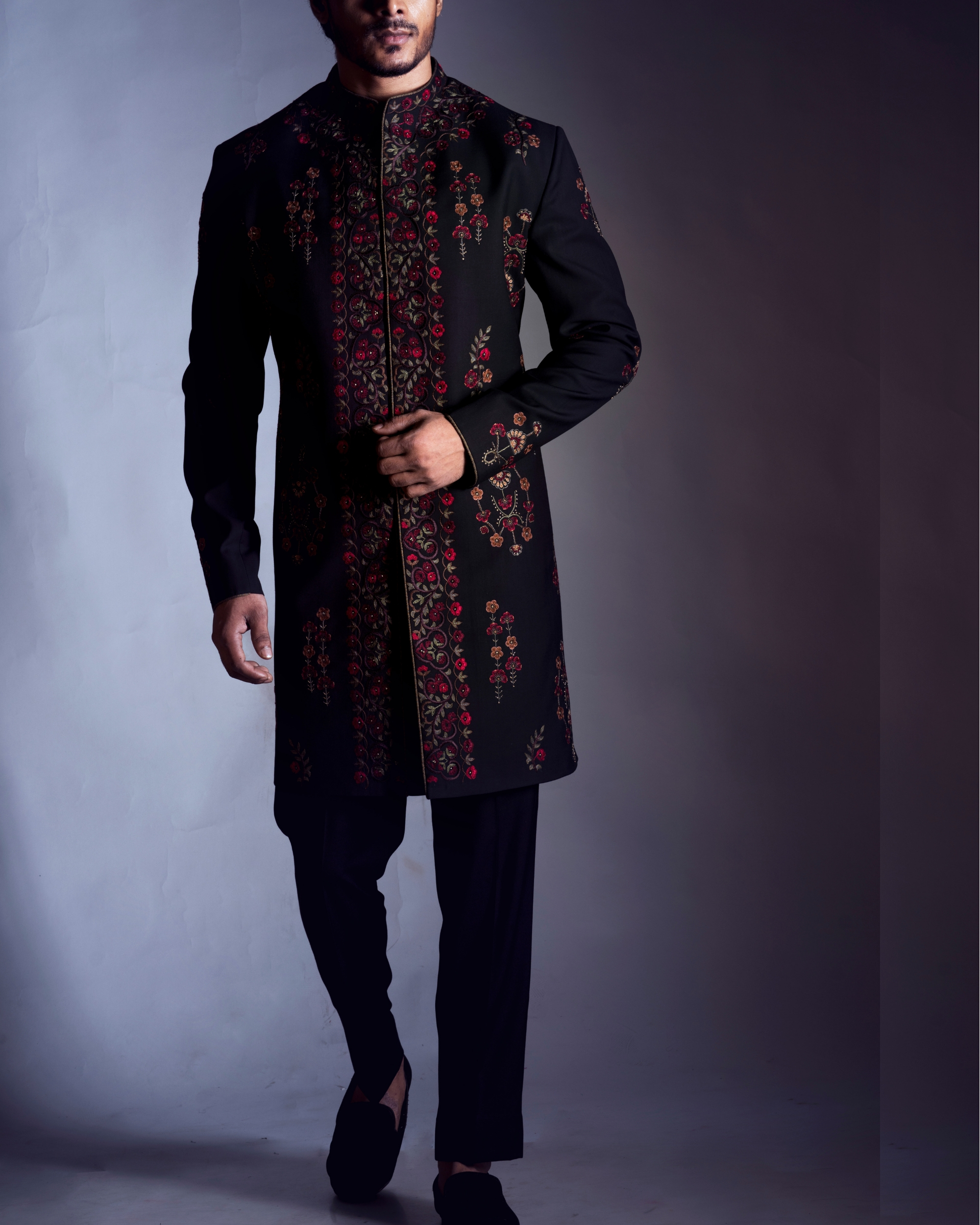 Black embroidered sherwani with trousers