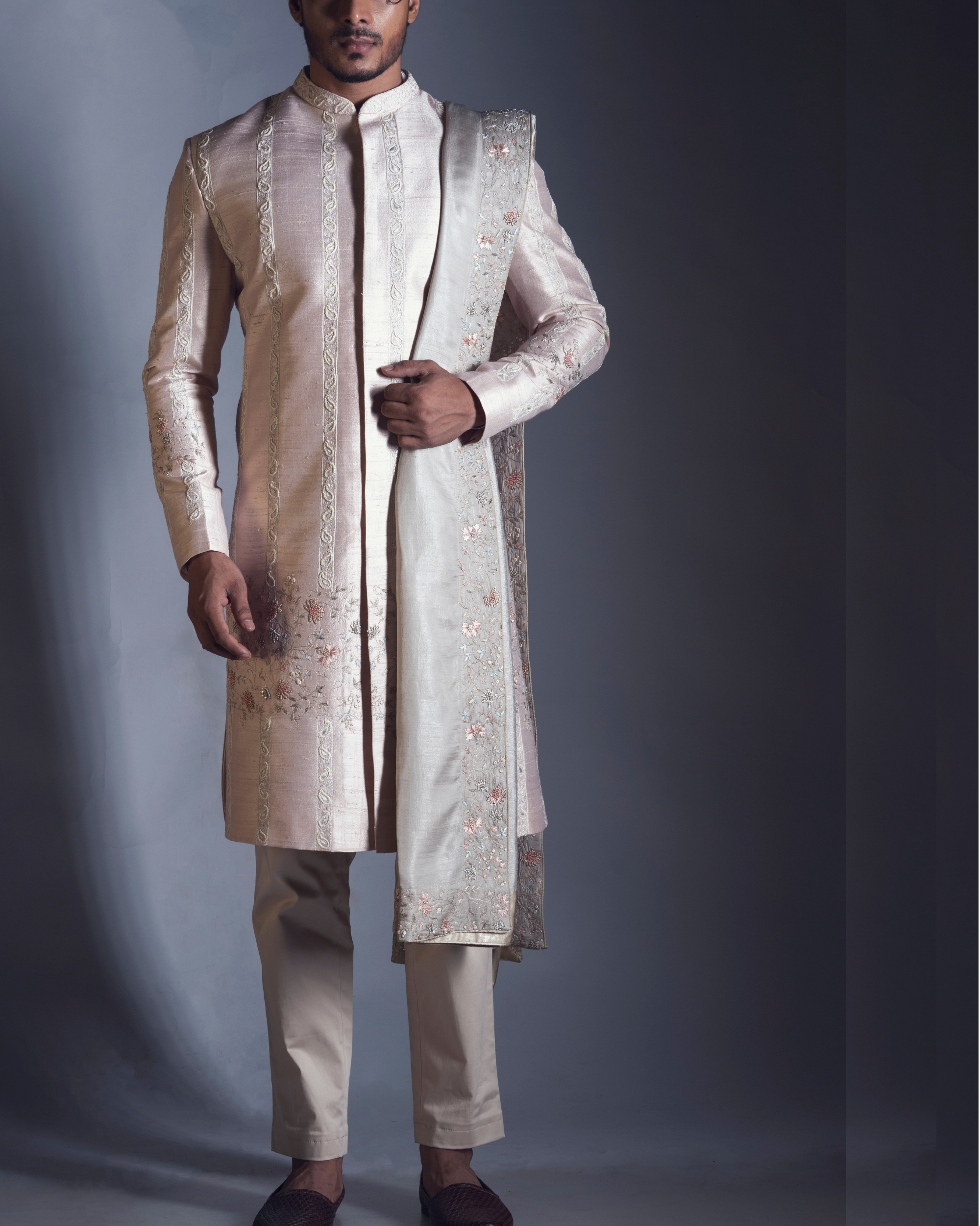 Pink embroidered silk sherwani set