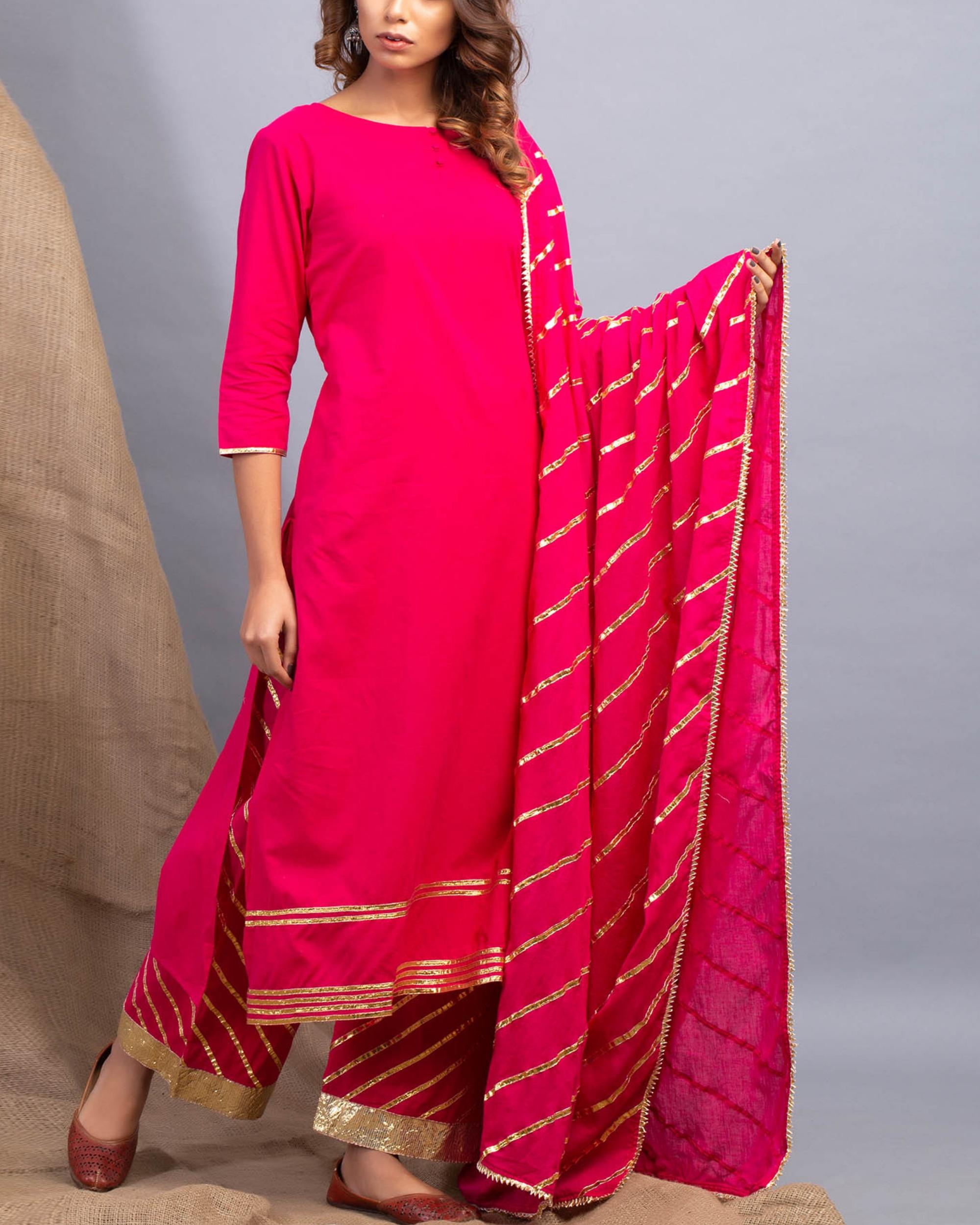 Magenta gota detailed kurta set with dupatta