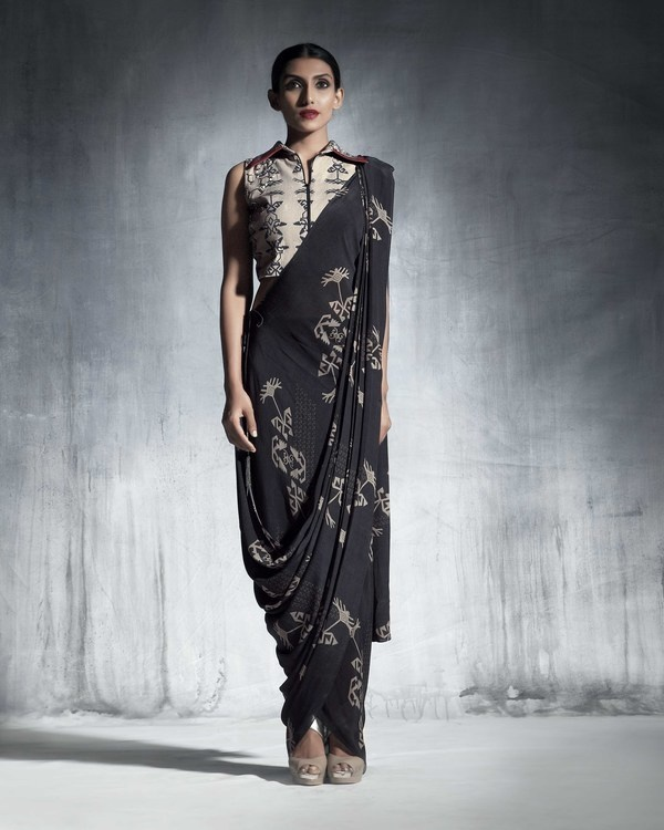 Silk crepe drape saree