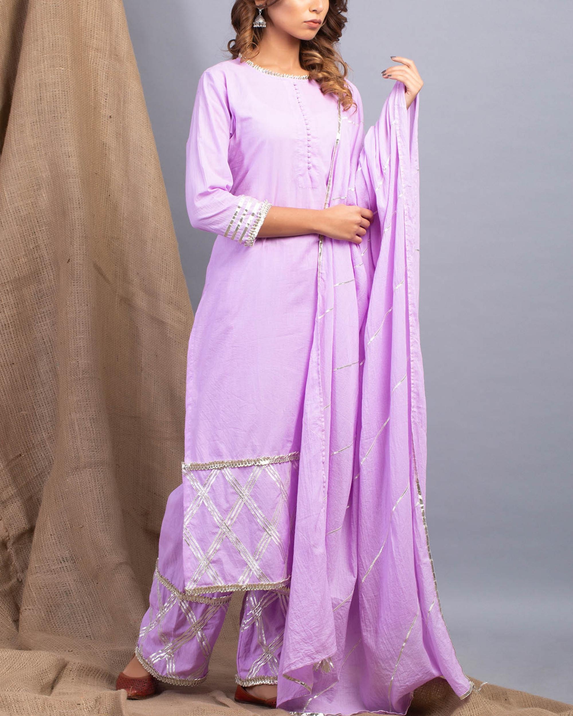 Lavender gota detailed straight kurta set with dupatta