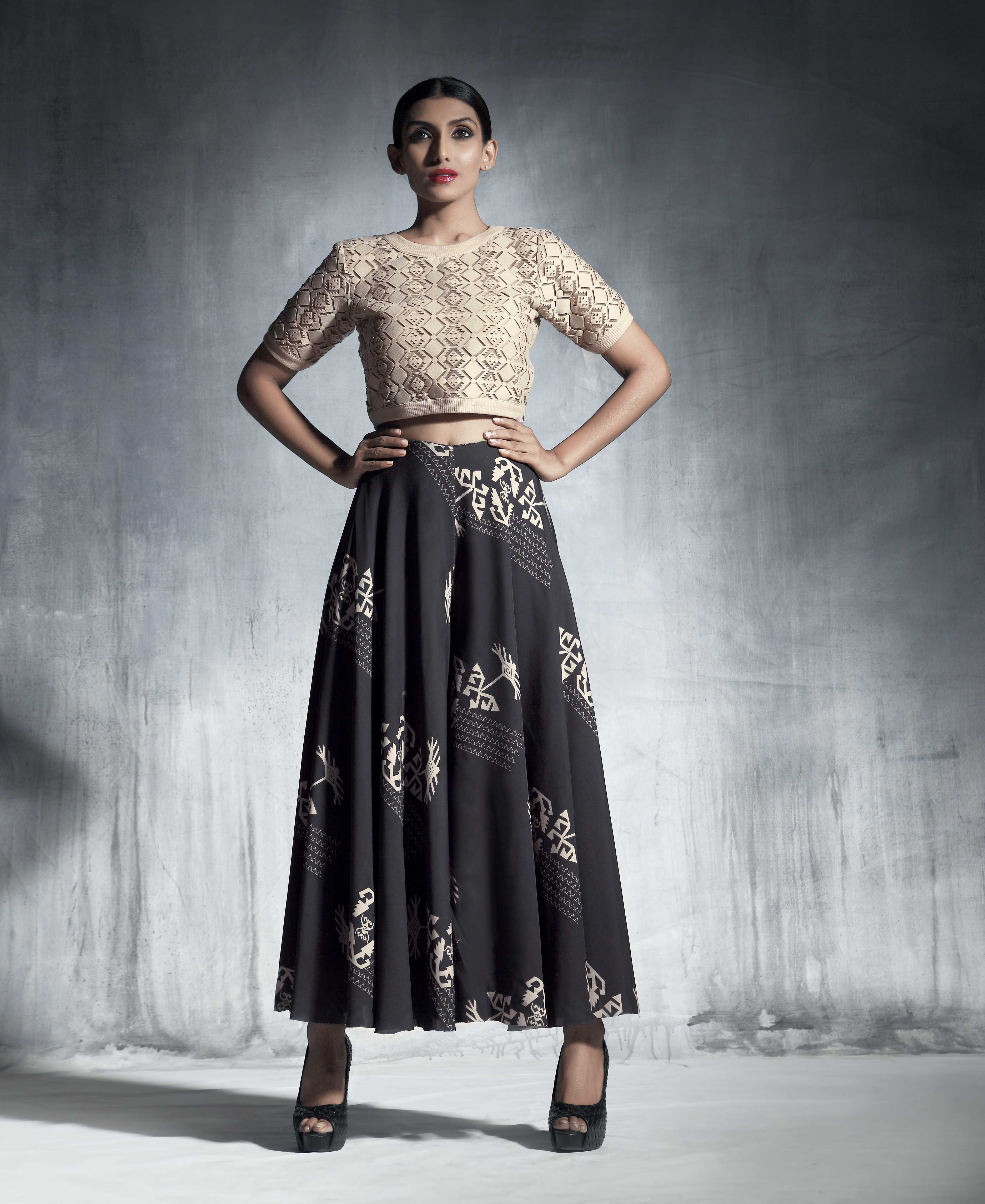 Silk georgette flared culottes