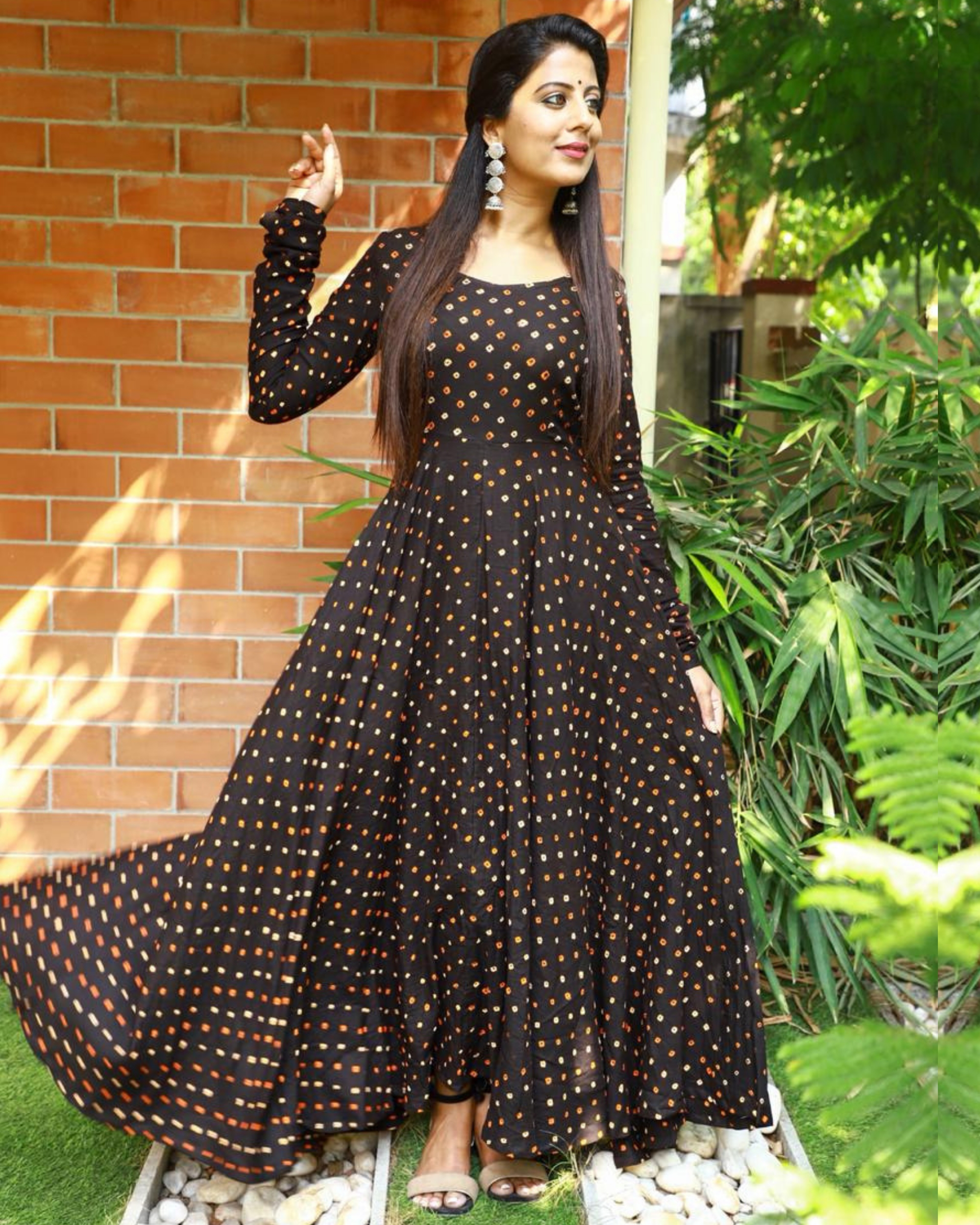 Dress Designs: Black Bandhani Flared Dress By Athira Designs