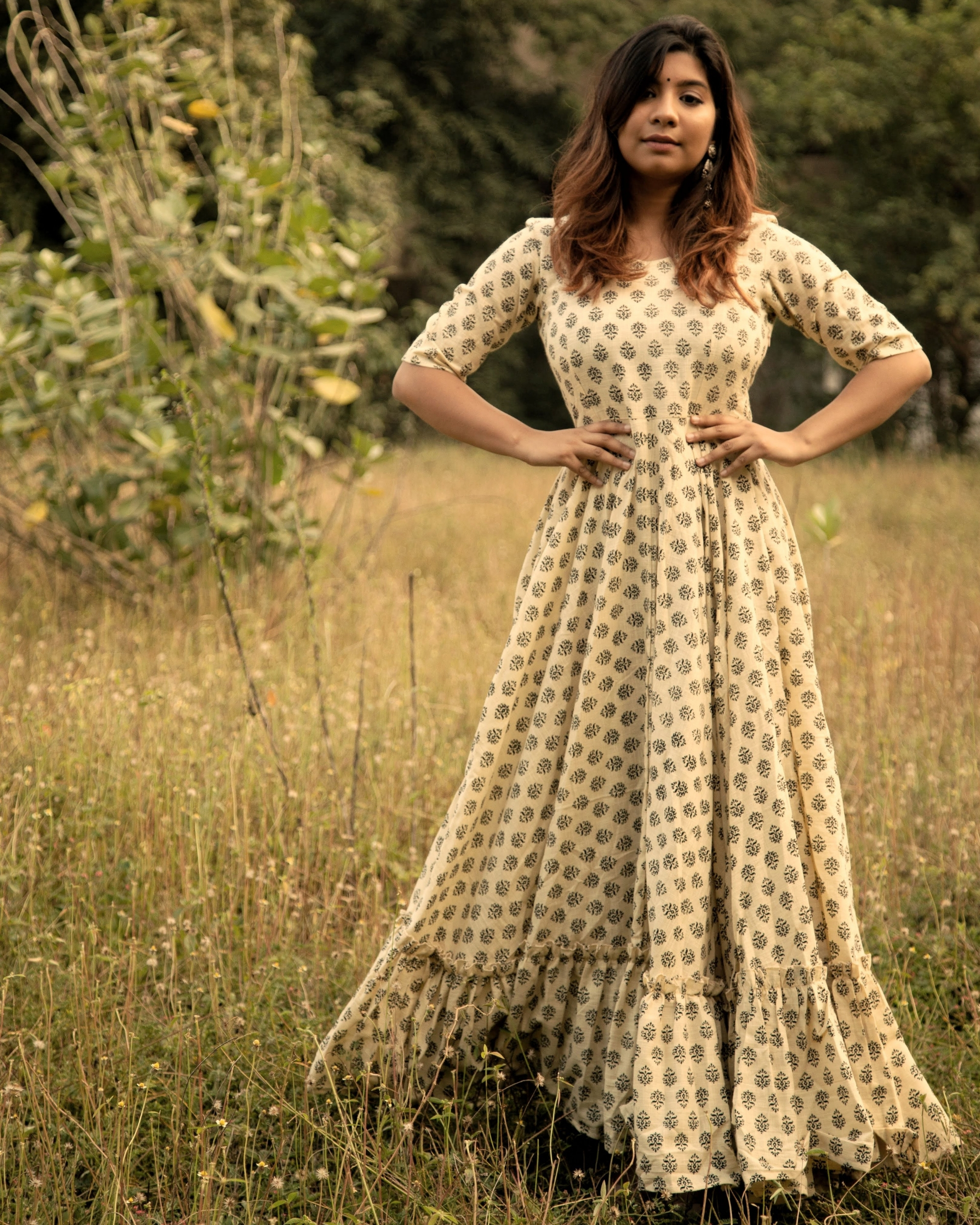 Cream block printed flared dress