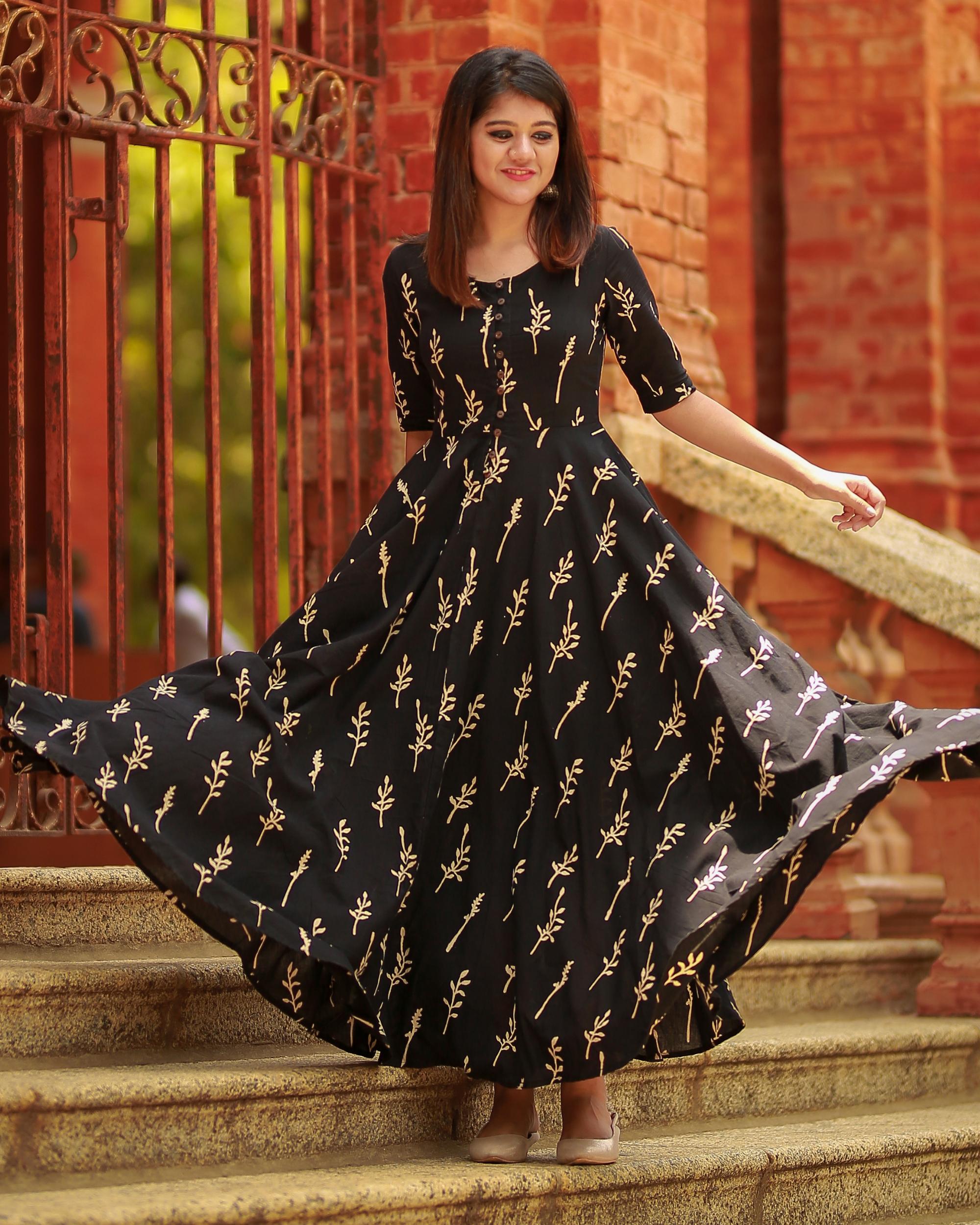 Cotton black printed flared dress