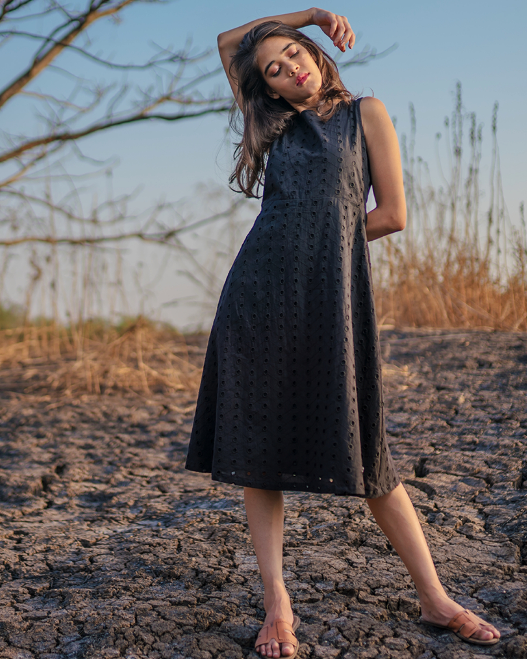 Cotton black cutwork dress