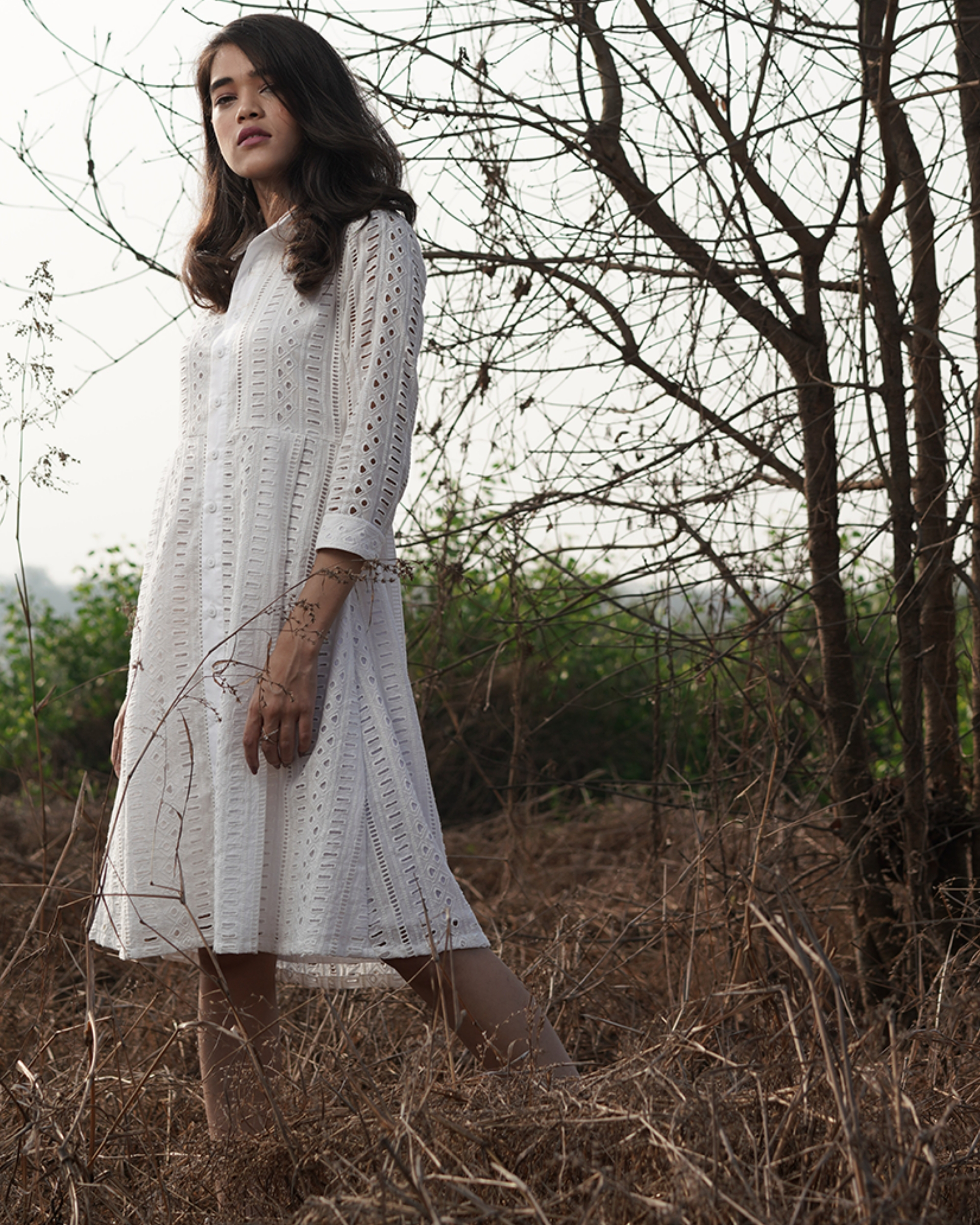 Cotton white shirt dress