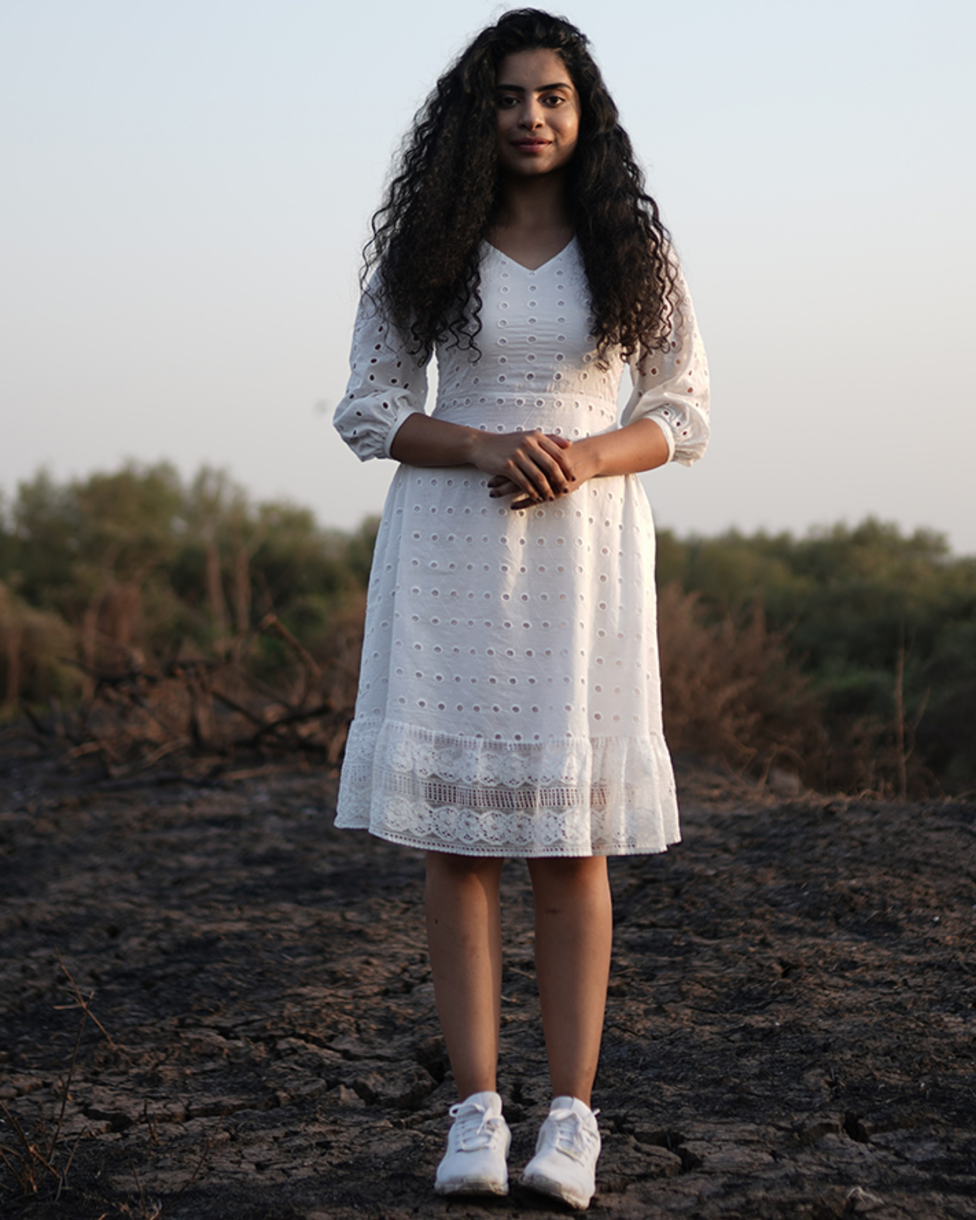 Lace detailed white cotton dress