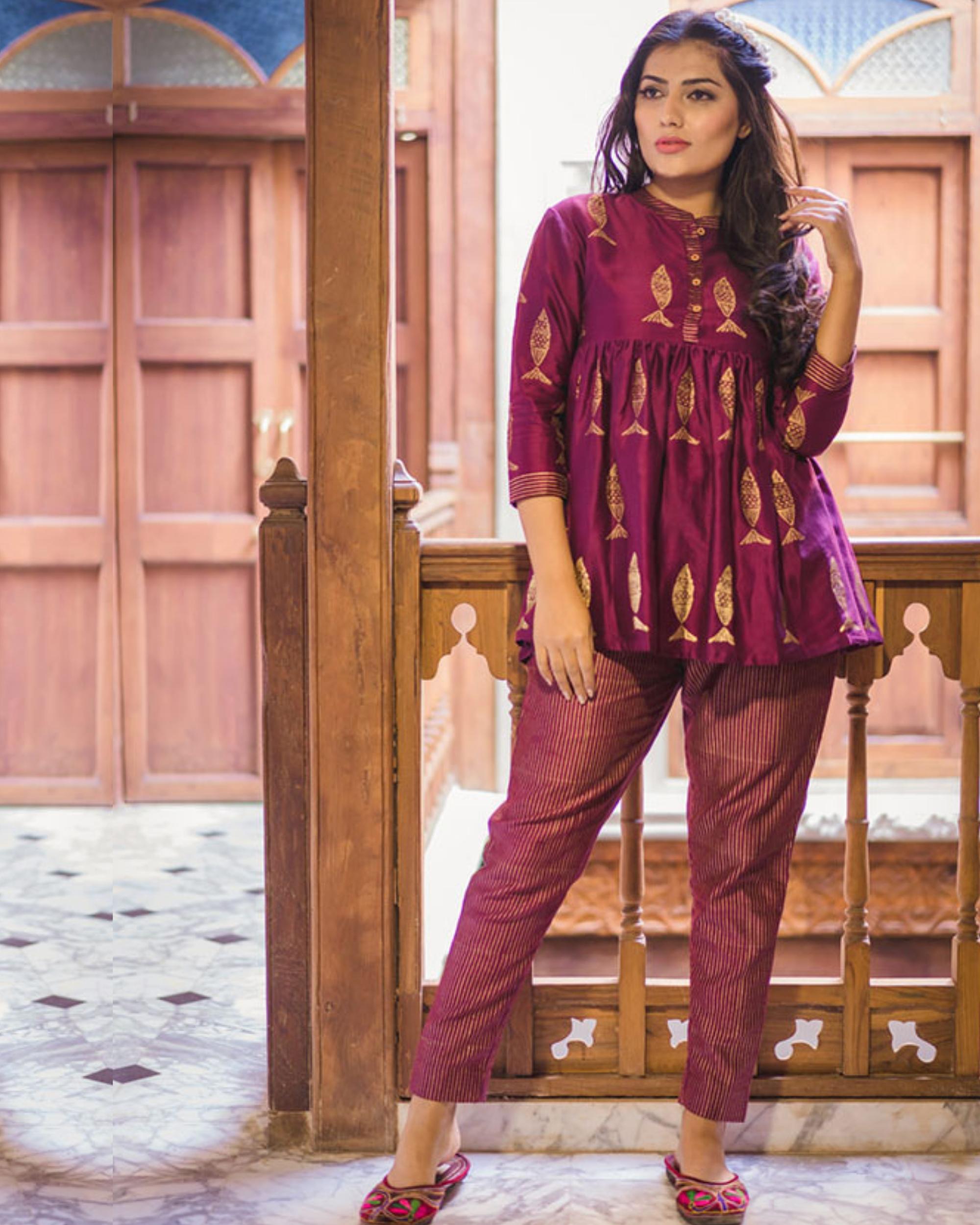 Purple flared chanderi short kurta set - Set of two