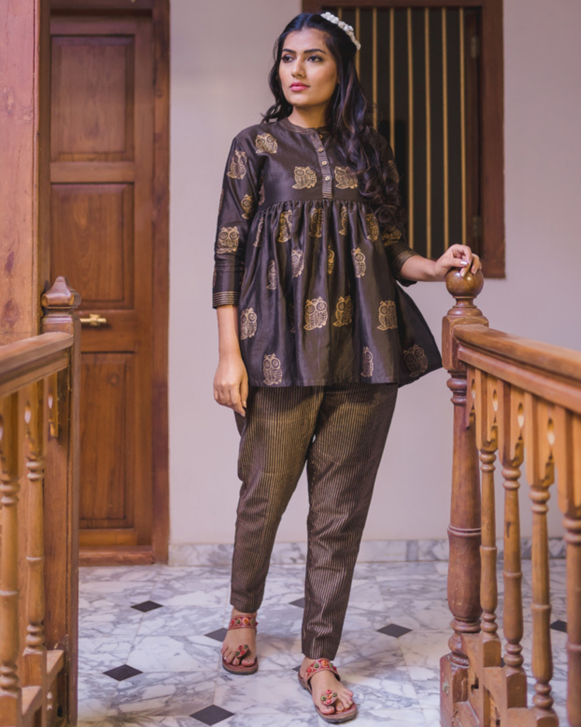 Brown flared chanderi short kurta set - Set of two