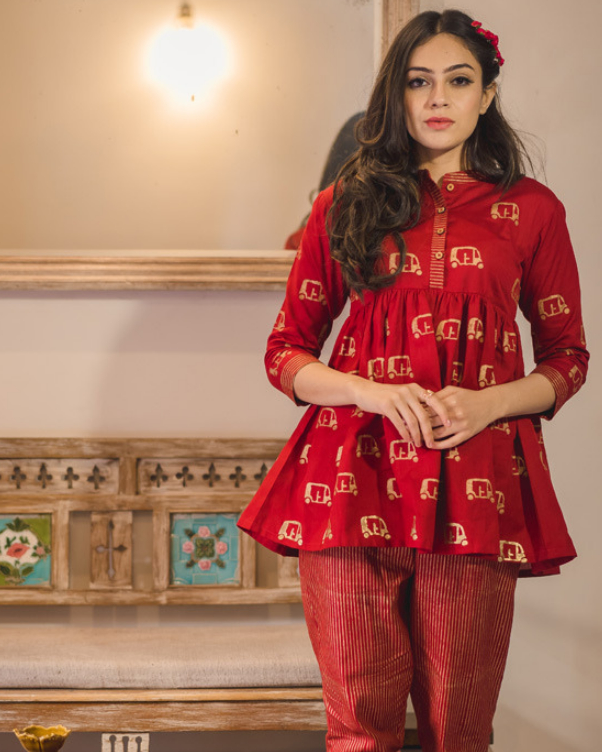 Red chanderi flared top
