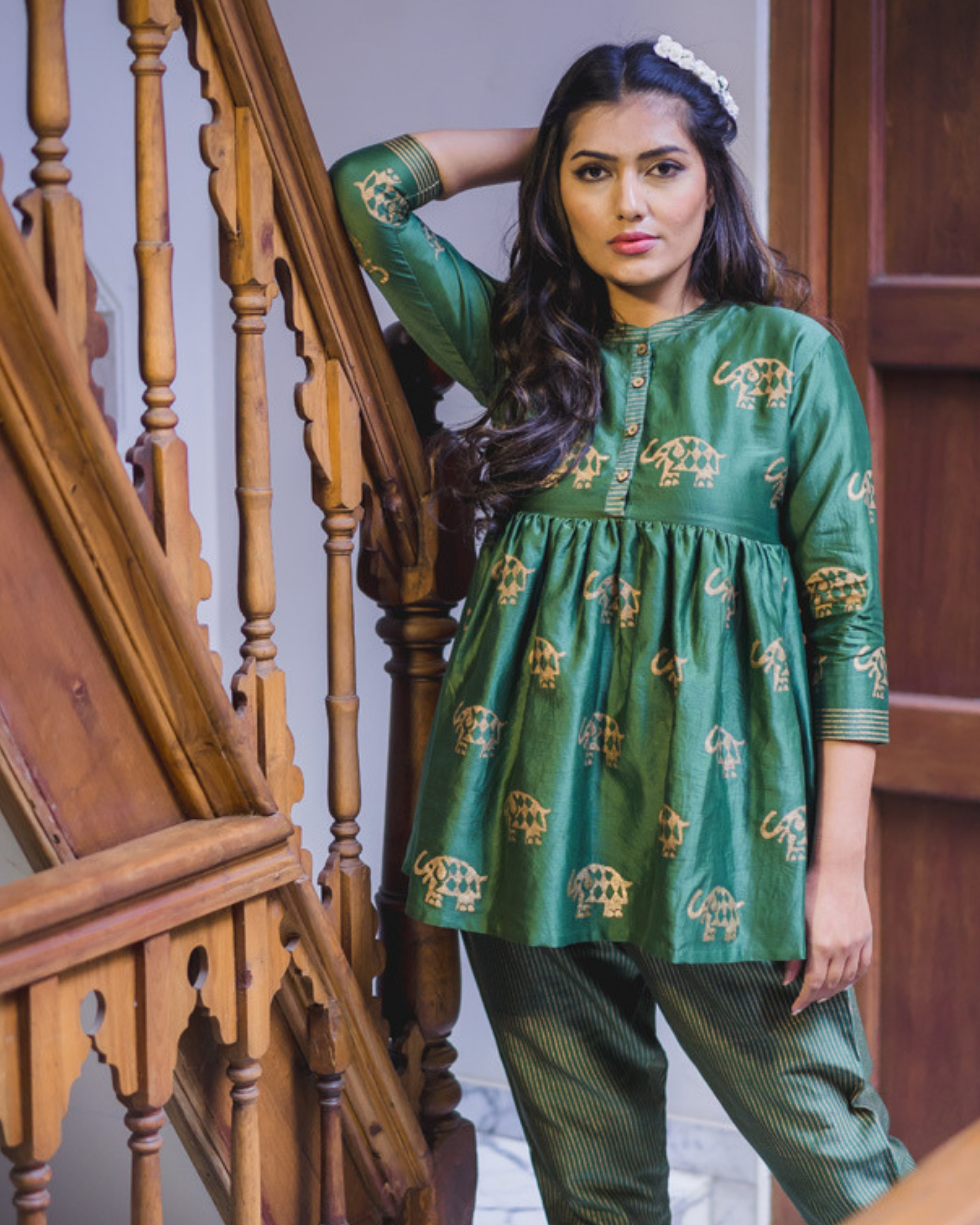 Green chanderi flared top