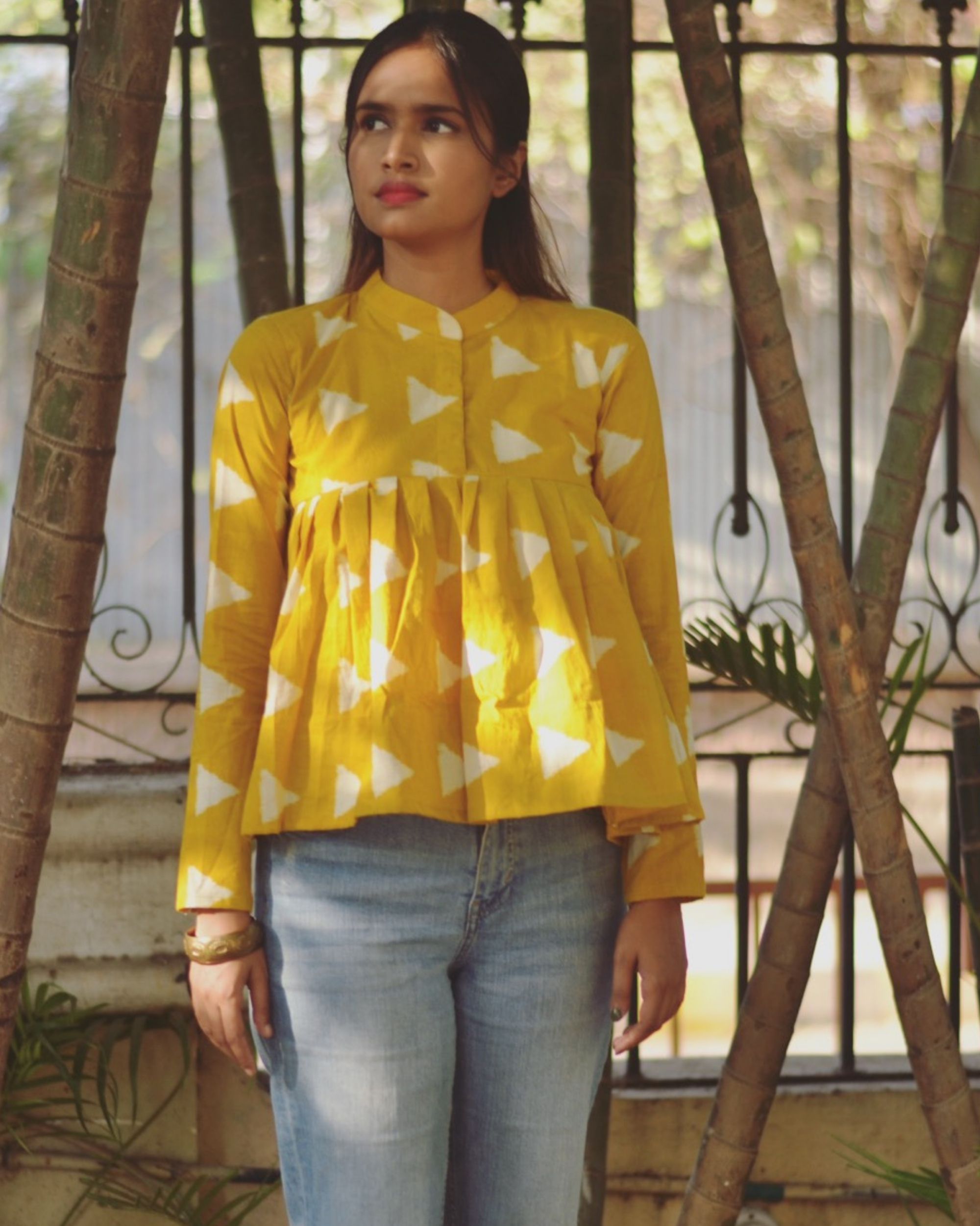 Yellow cotton block top