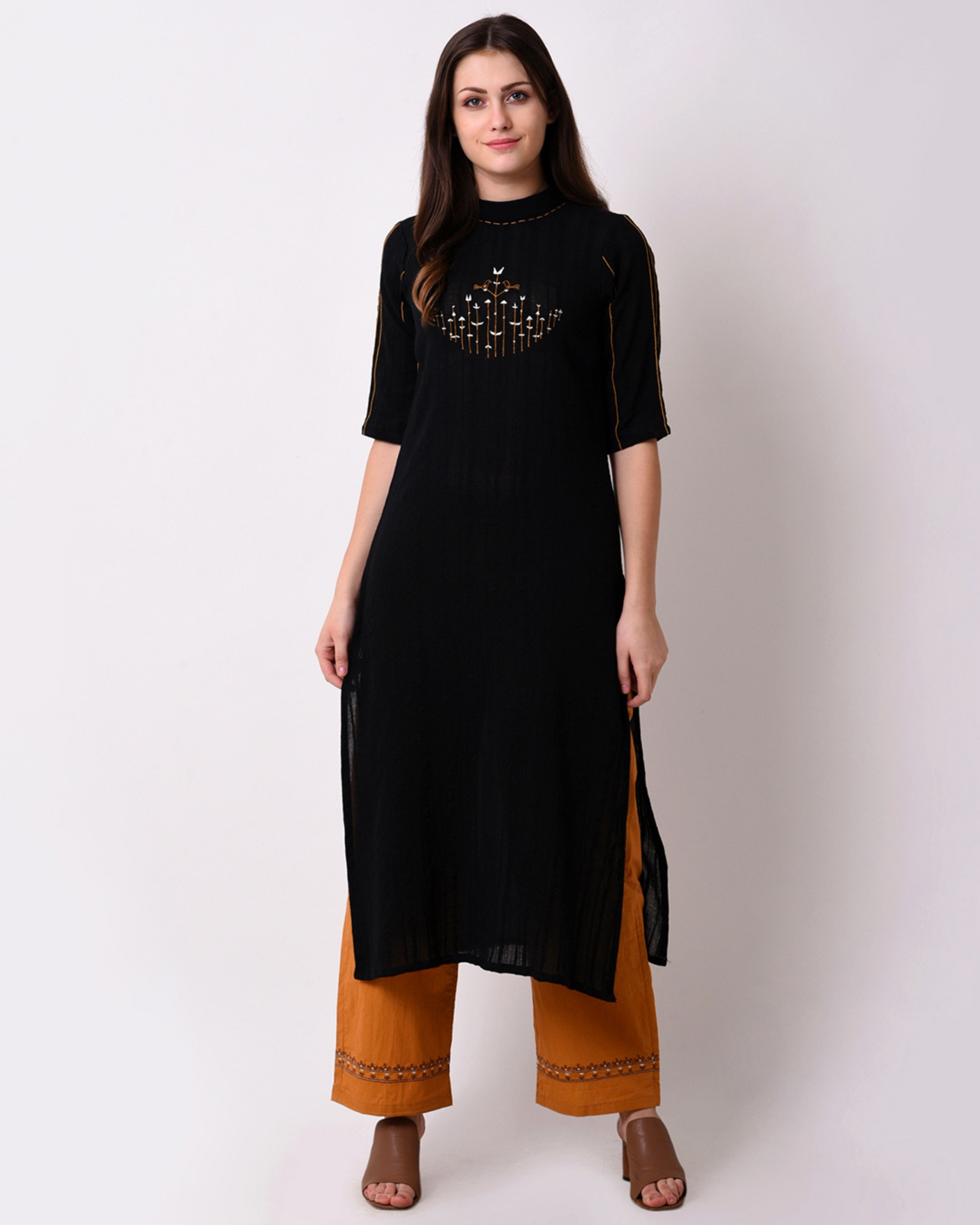 Cotton dobby black kurta set - Set of Two
