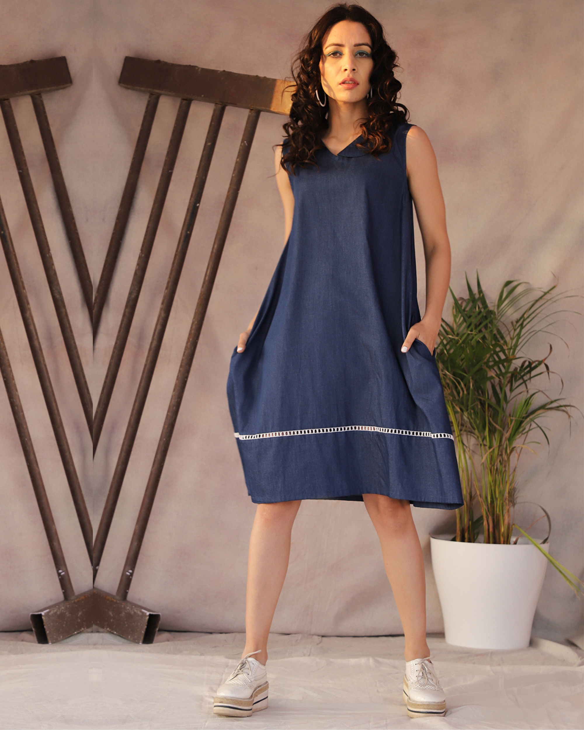 Lace detailed denim blue a-line dress