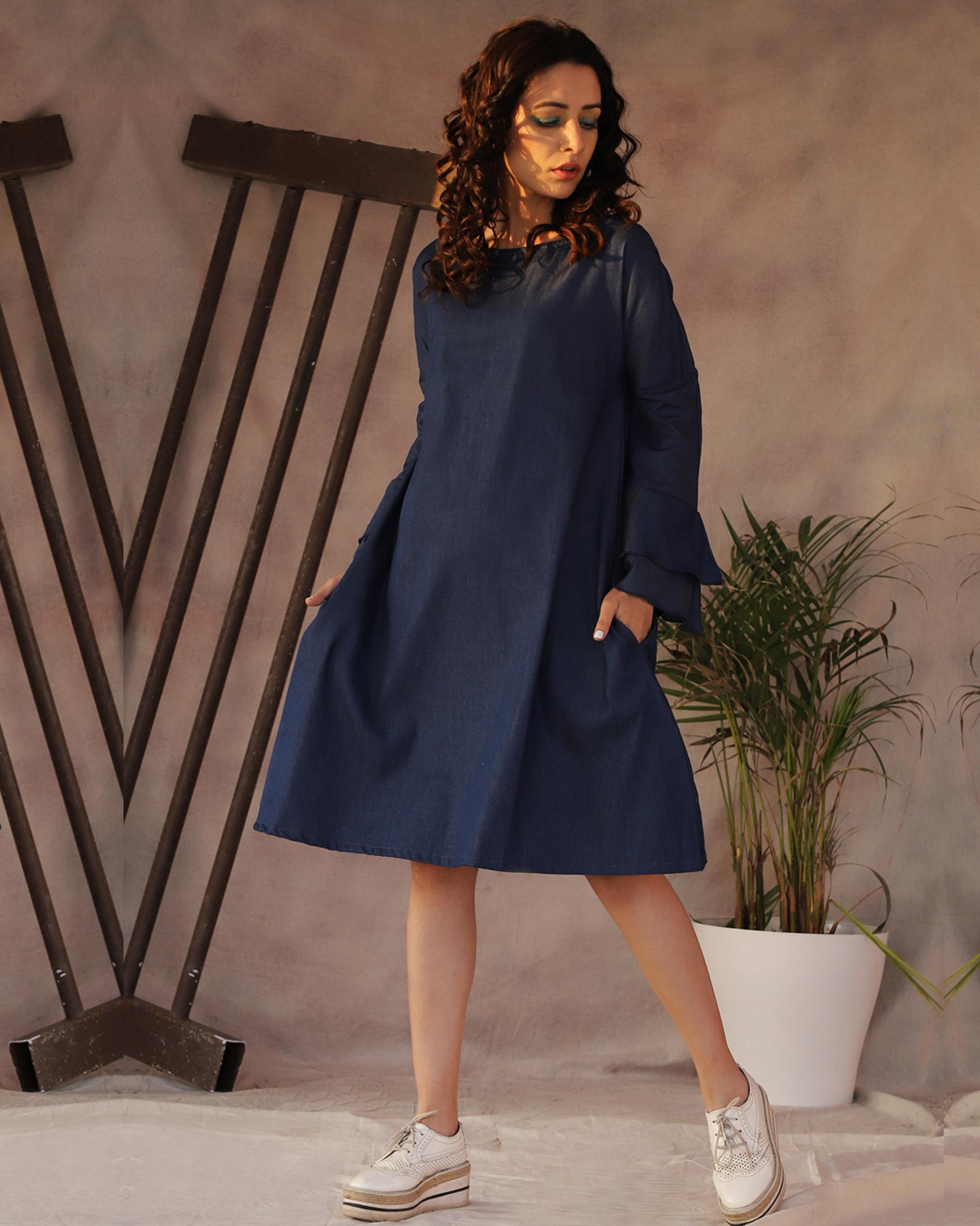 Denim frill a-line dress