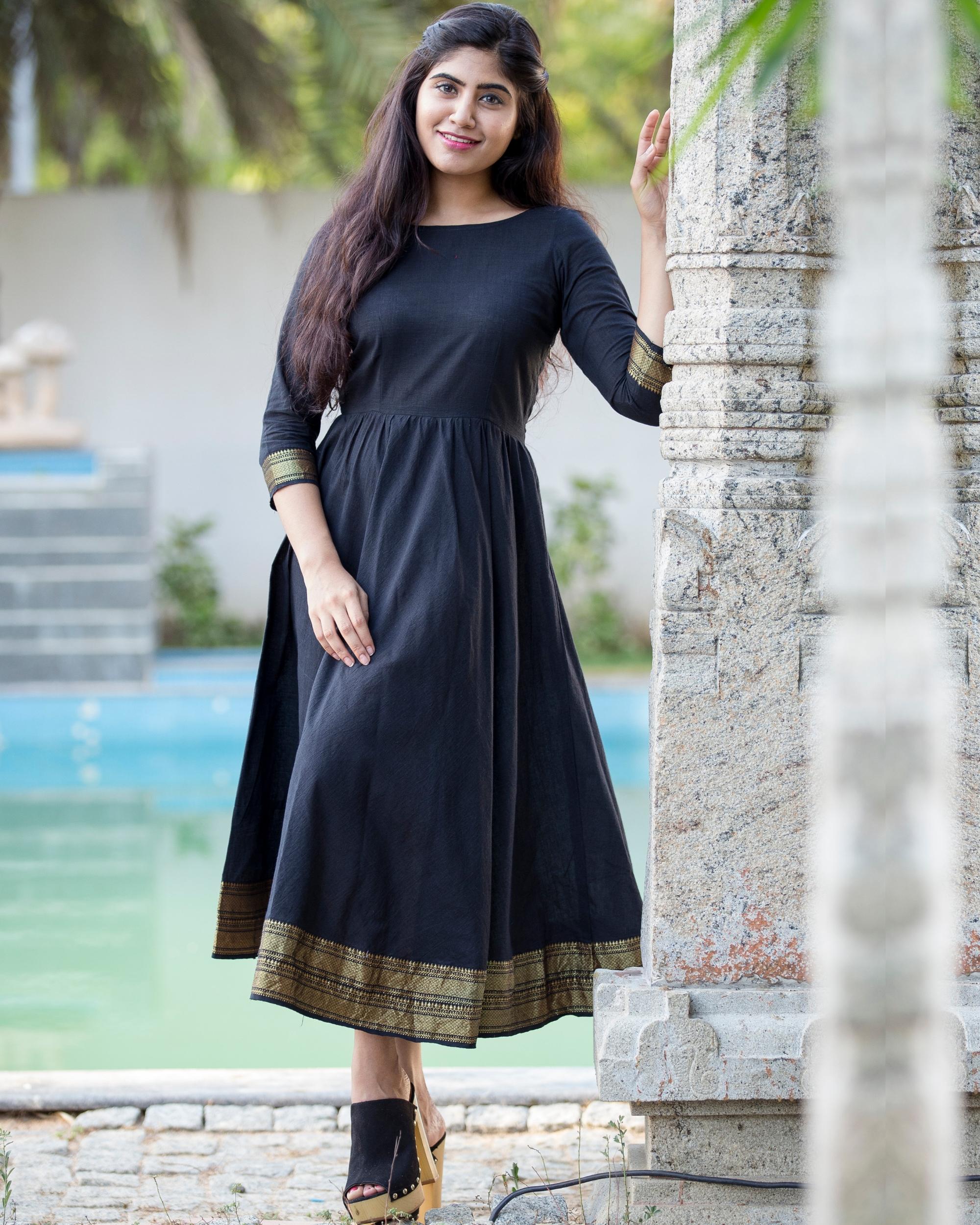 Zari detailed black flared dress