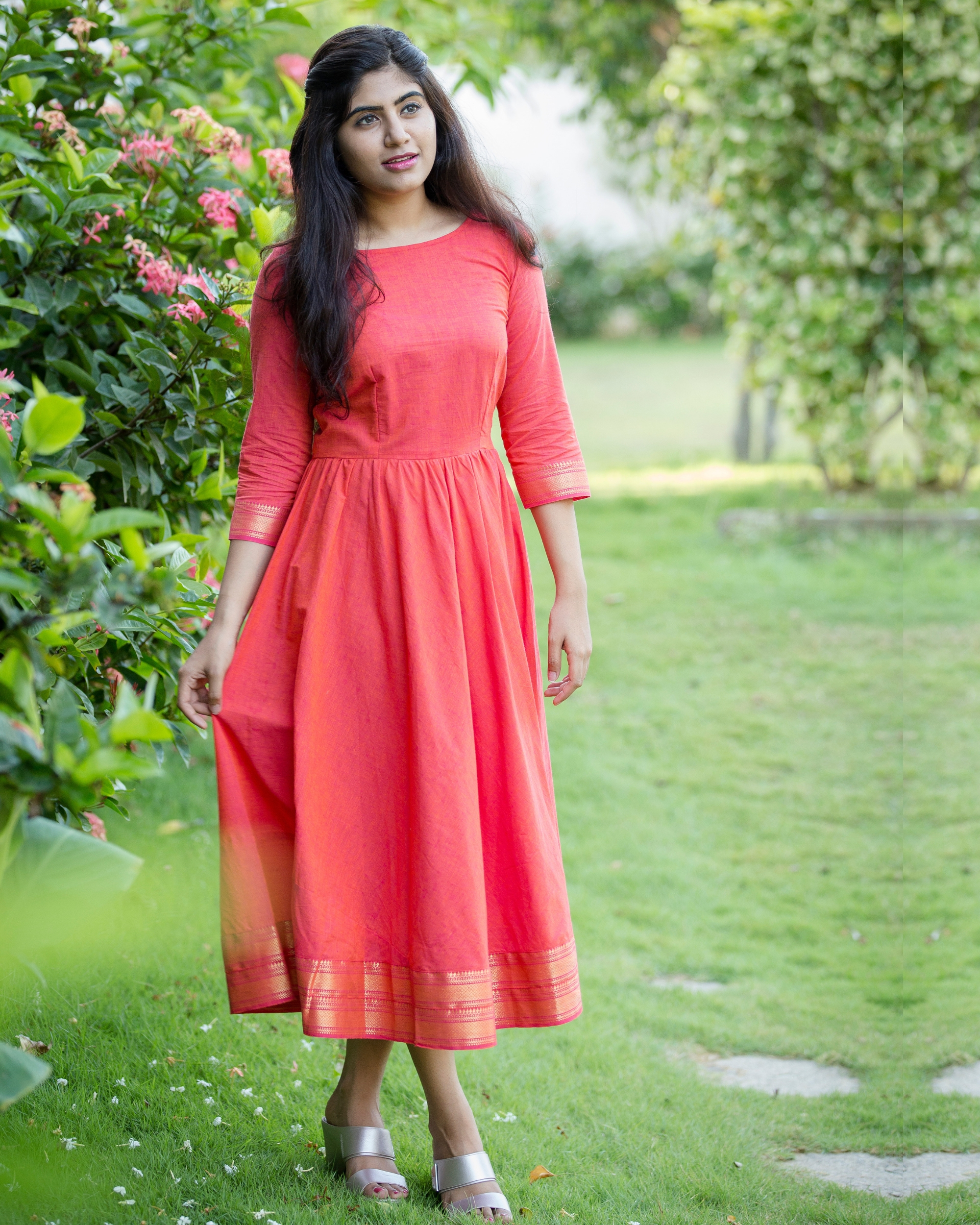 Peach zari detailed dress