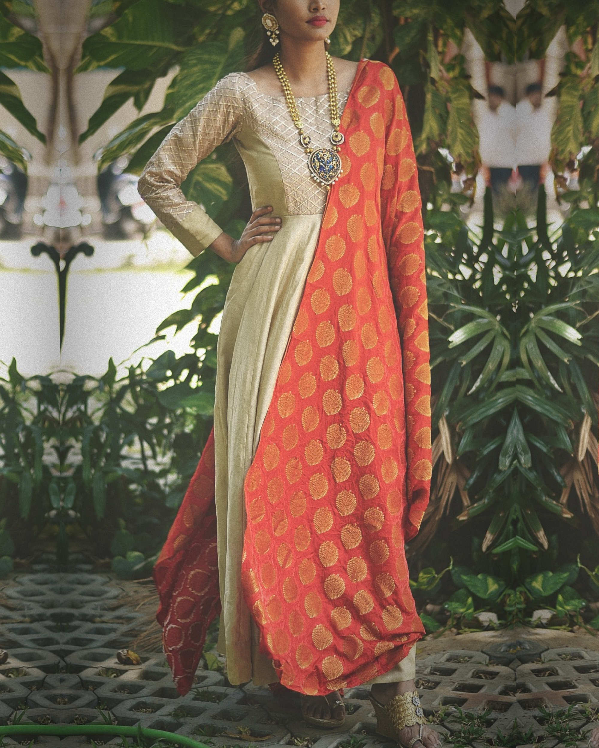 Yoke embellished dress with dupatta - Set of two