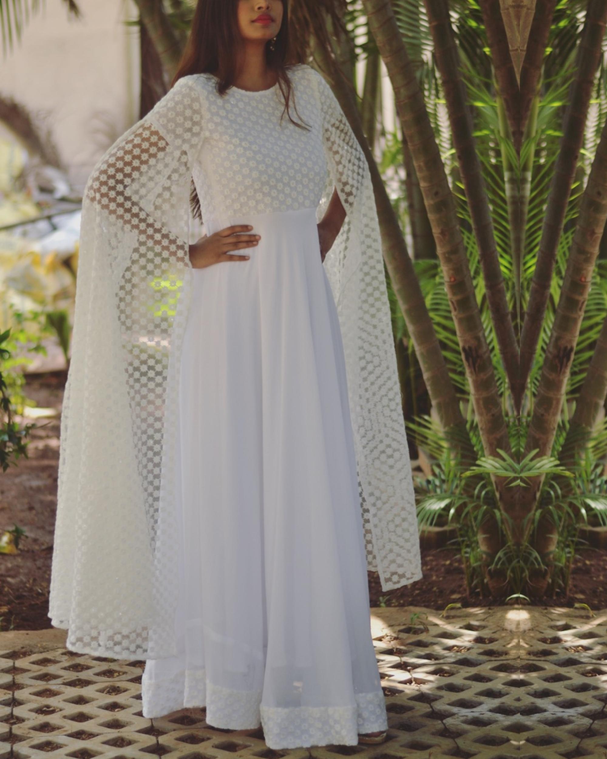 White thread work embellished flared dress
