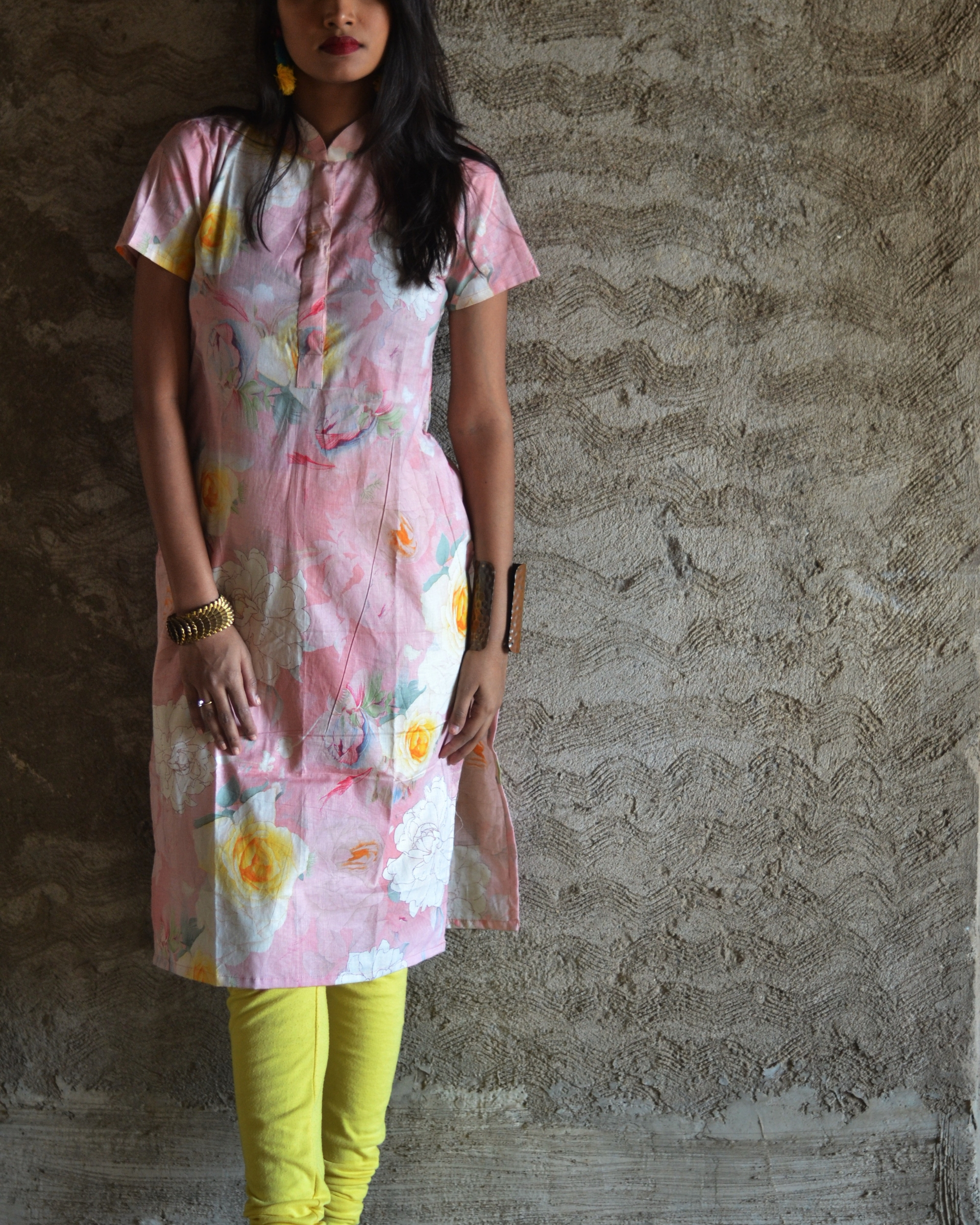 Cotton pink floral printed kurta