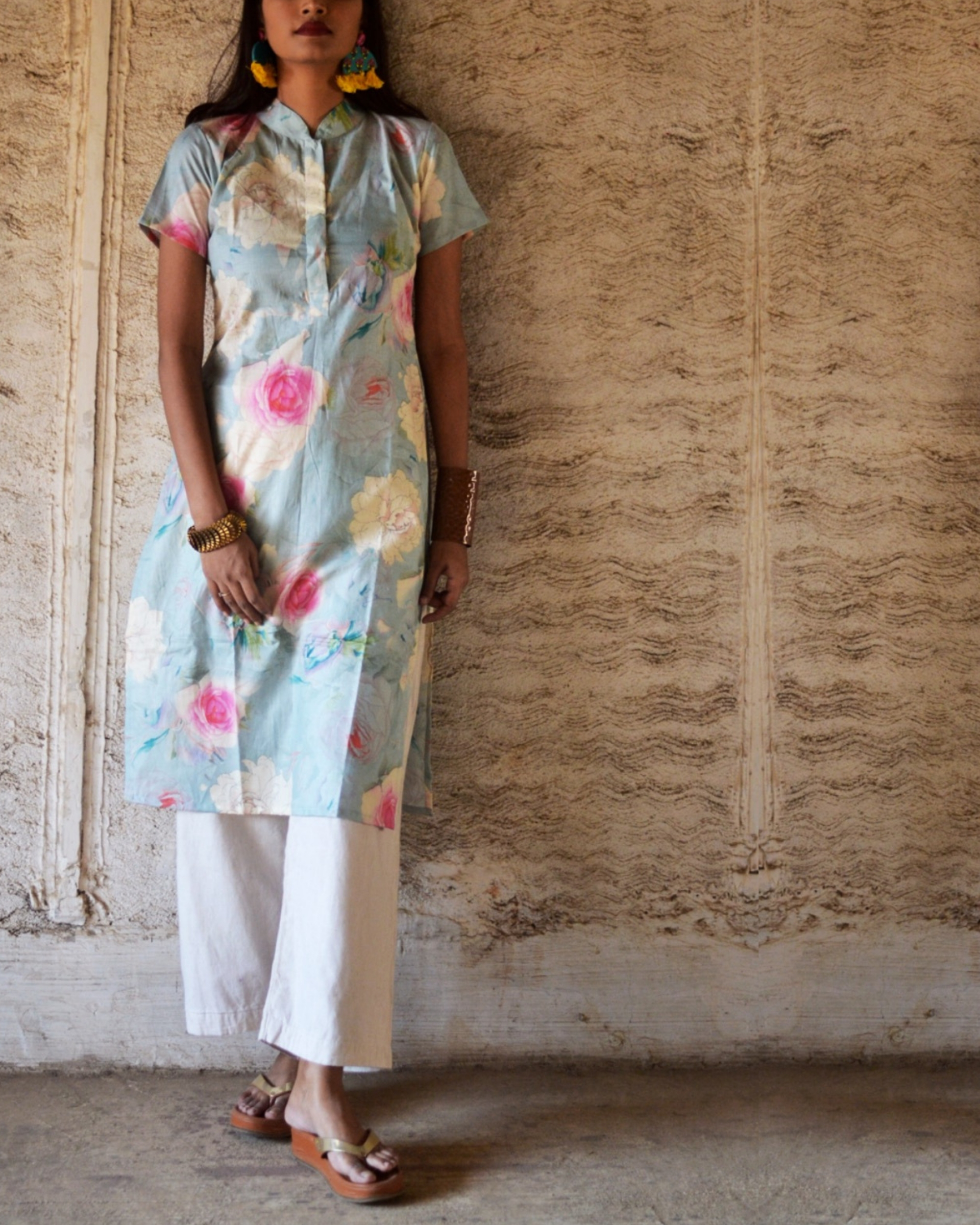 Cotton blue floral printed kurta