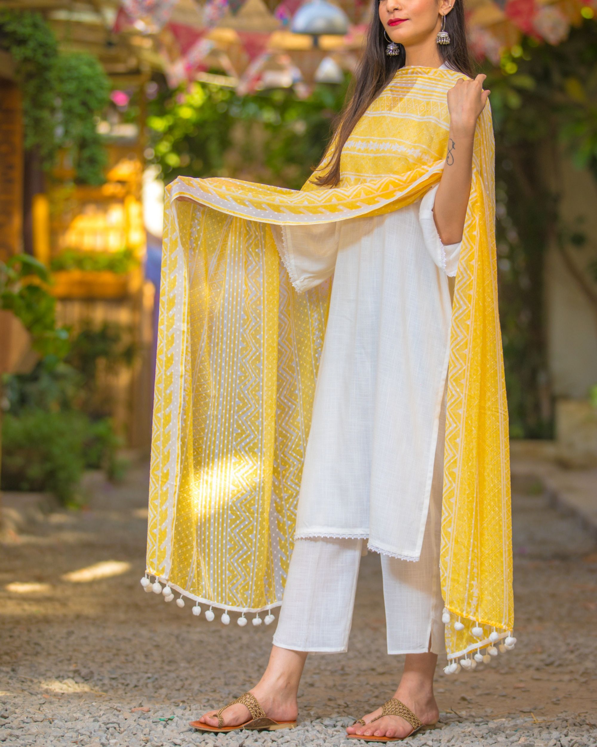 Cotton ivory suit with chiffon dupatta- set of three