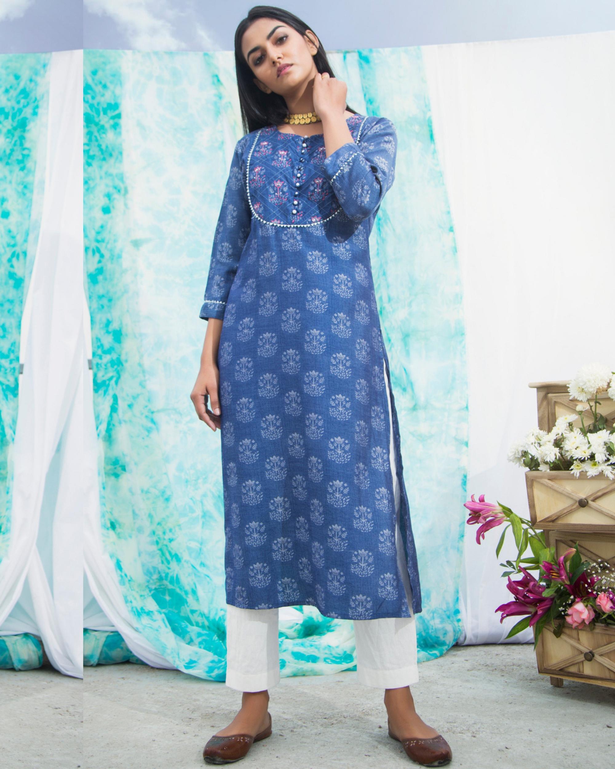 Peacock print cotton kurta