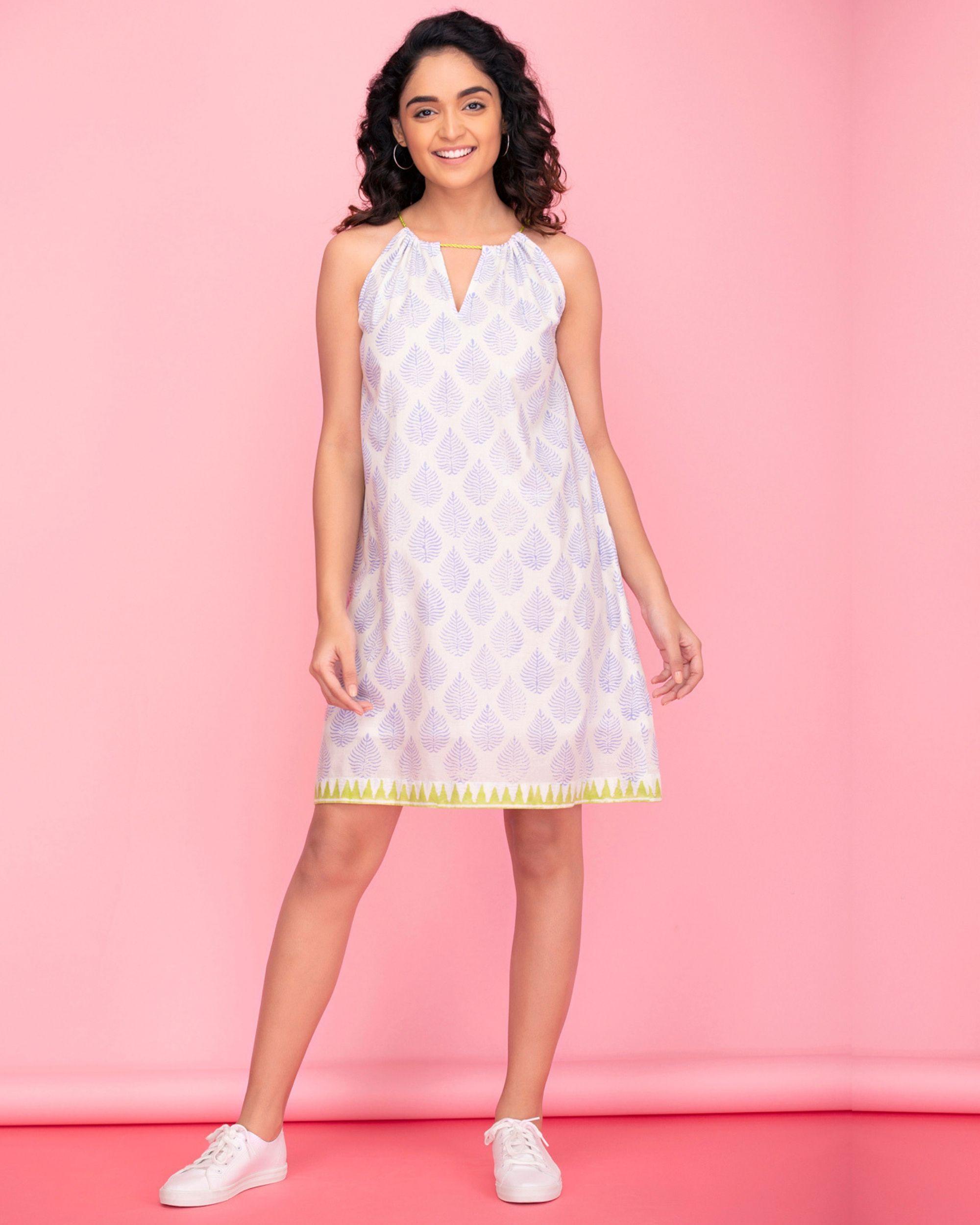 92fe8275d4504 White halter neck dress by Twirl Studio   The Secret Label