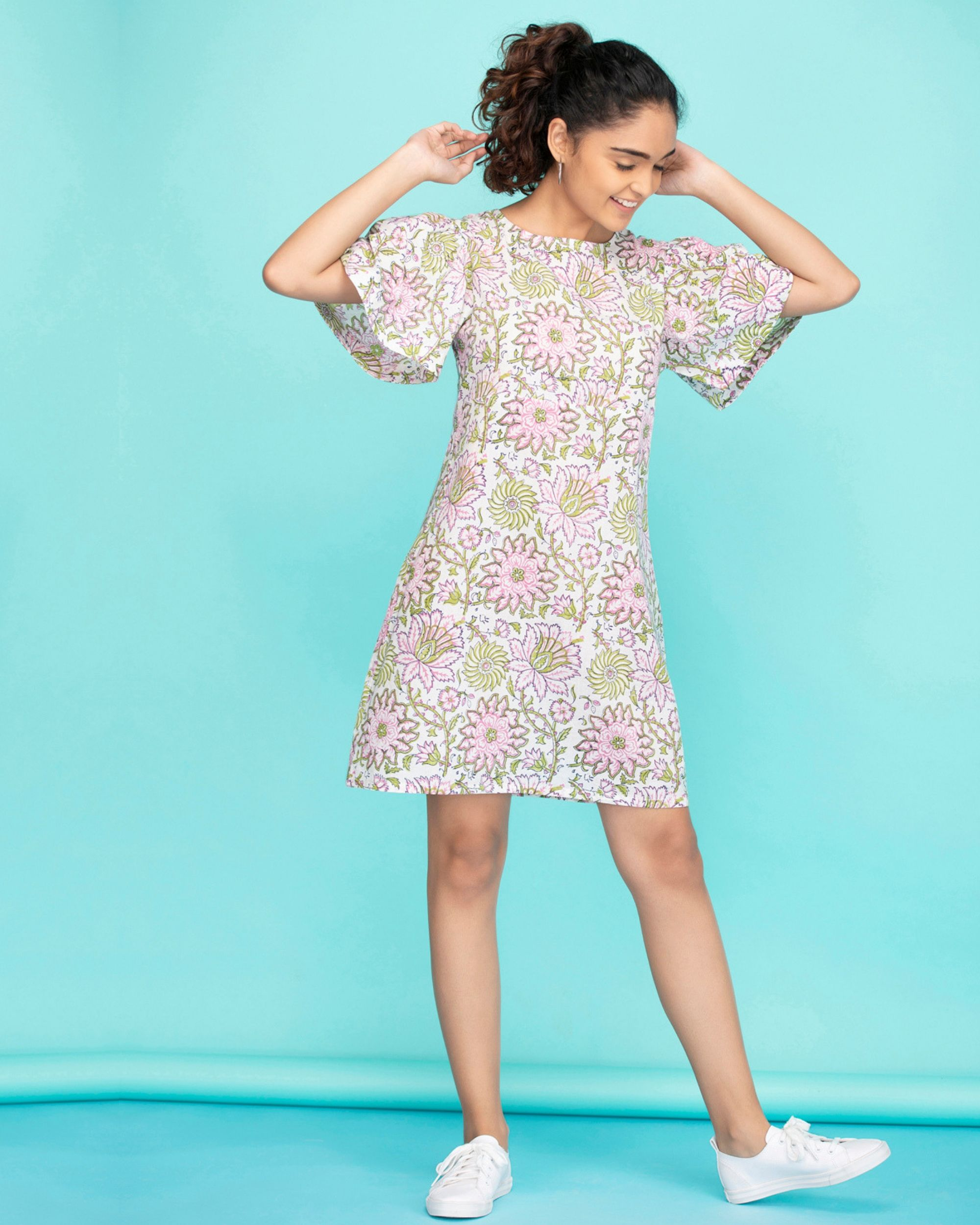 Pink dahlia flared sleeves dress