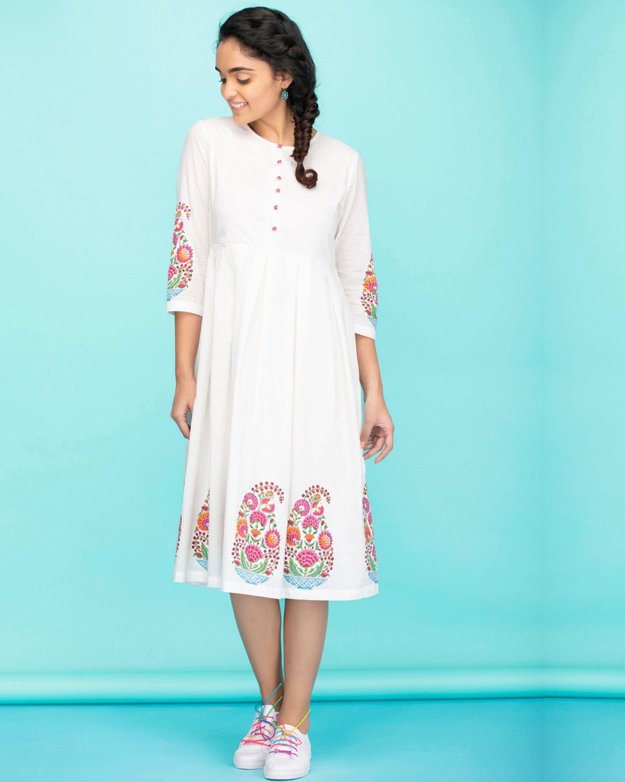 Cotton paisley applique dress