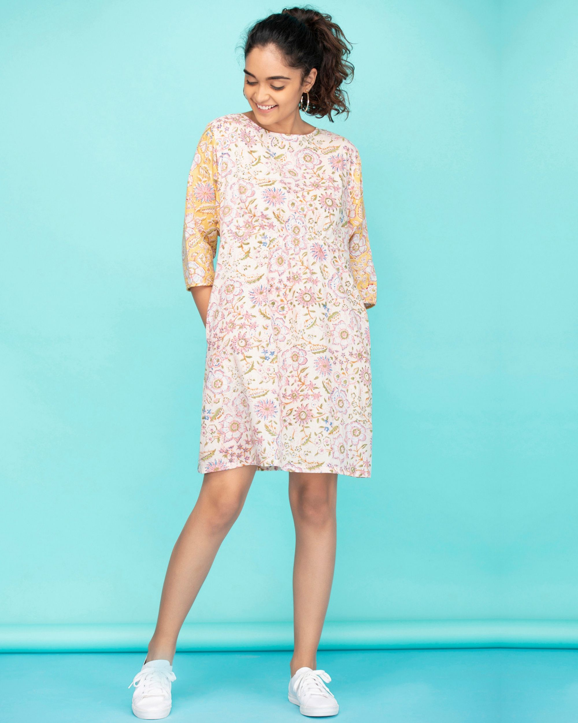 Dolman sleeves floral a-line dress