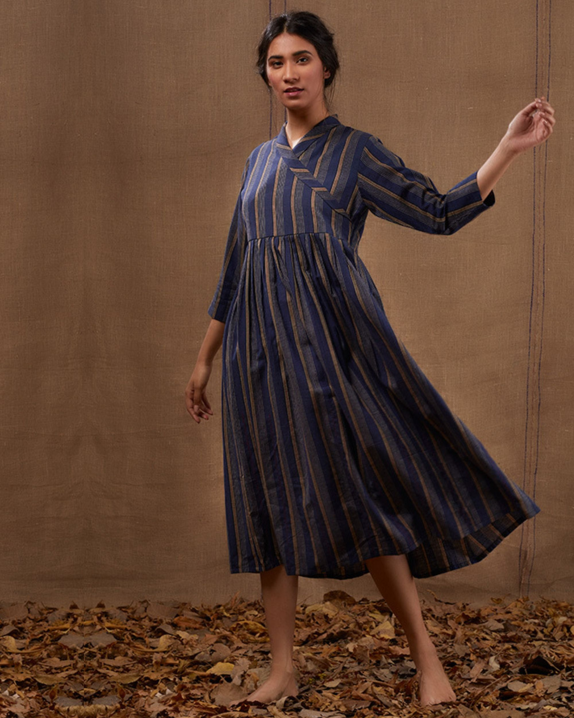 Blue cotton striped flared dress