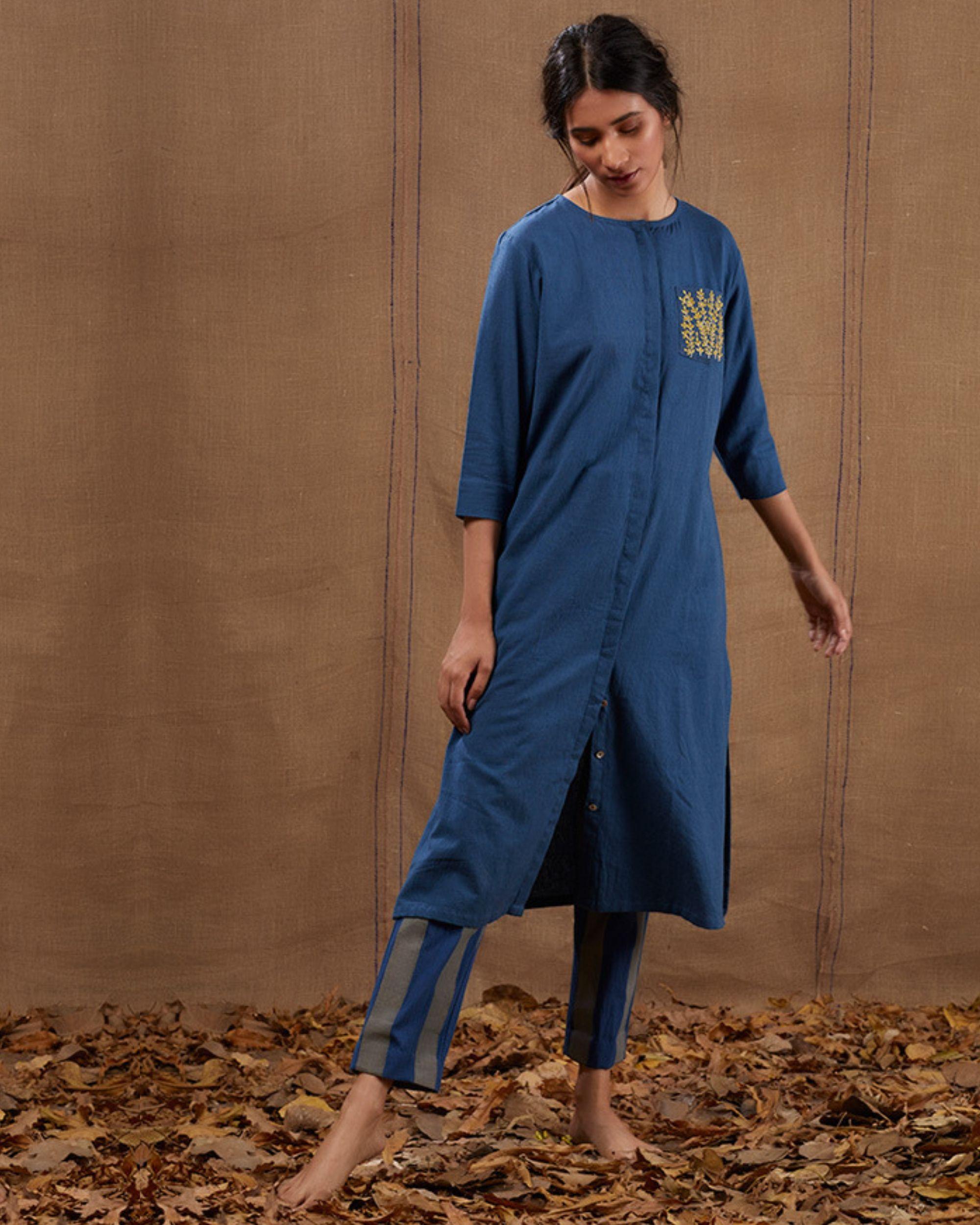 Indigo khadi embroidered pocket kurta