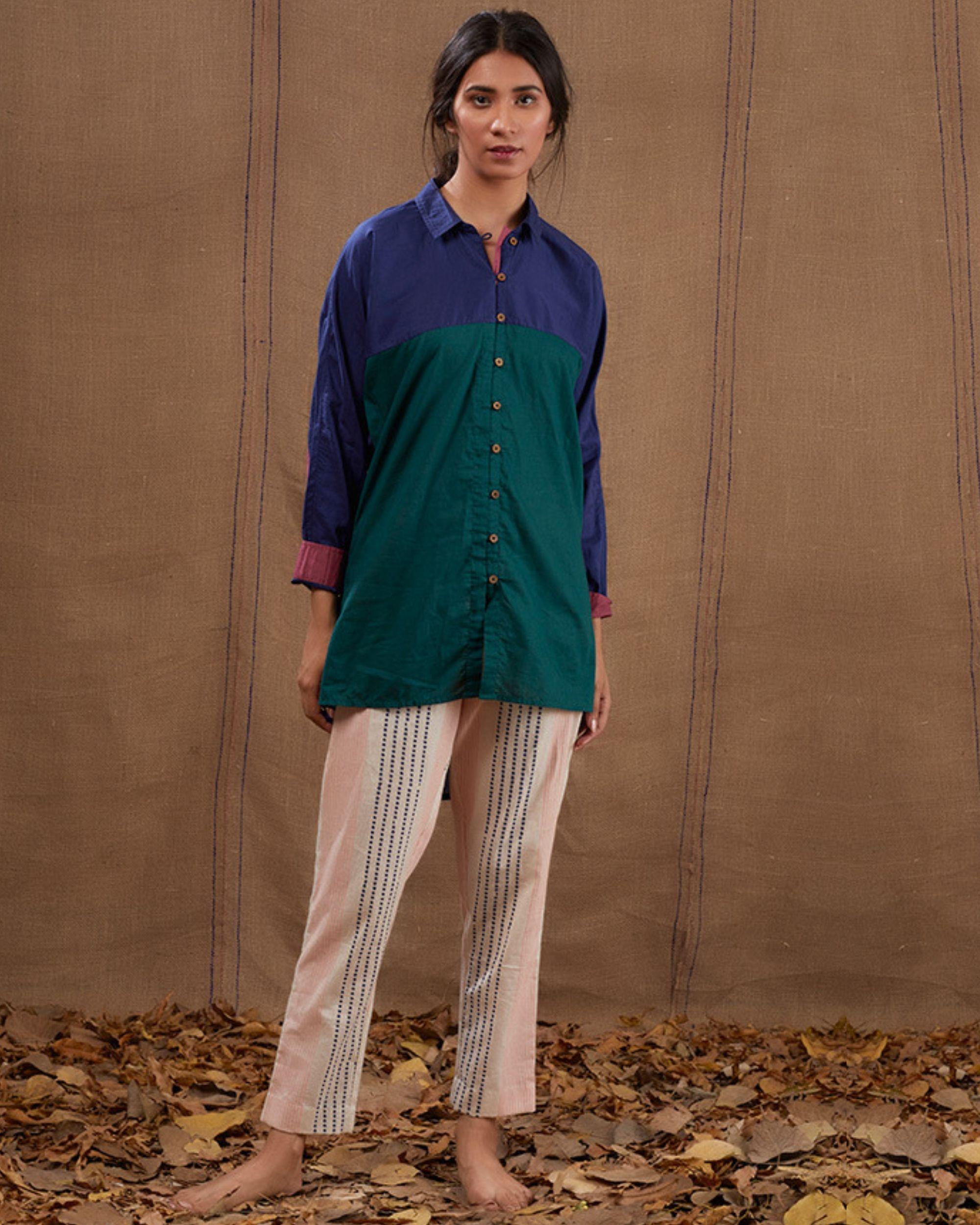 Cotton blue-green shirt