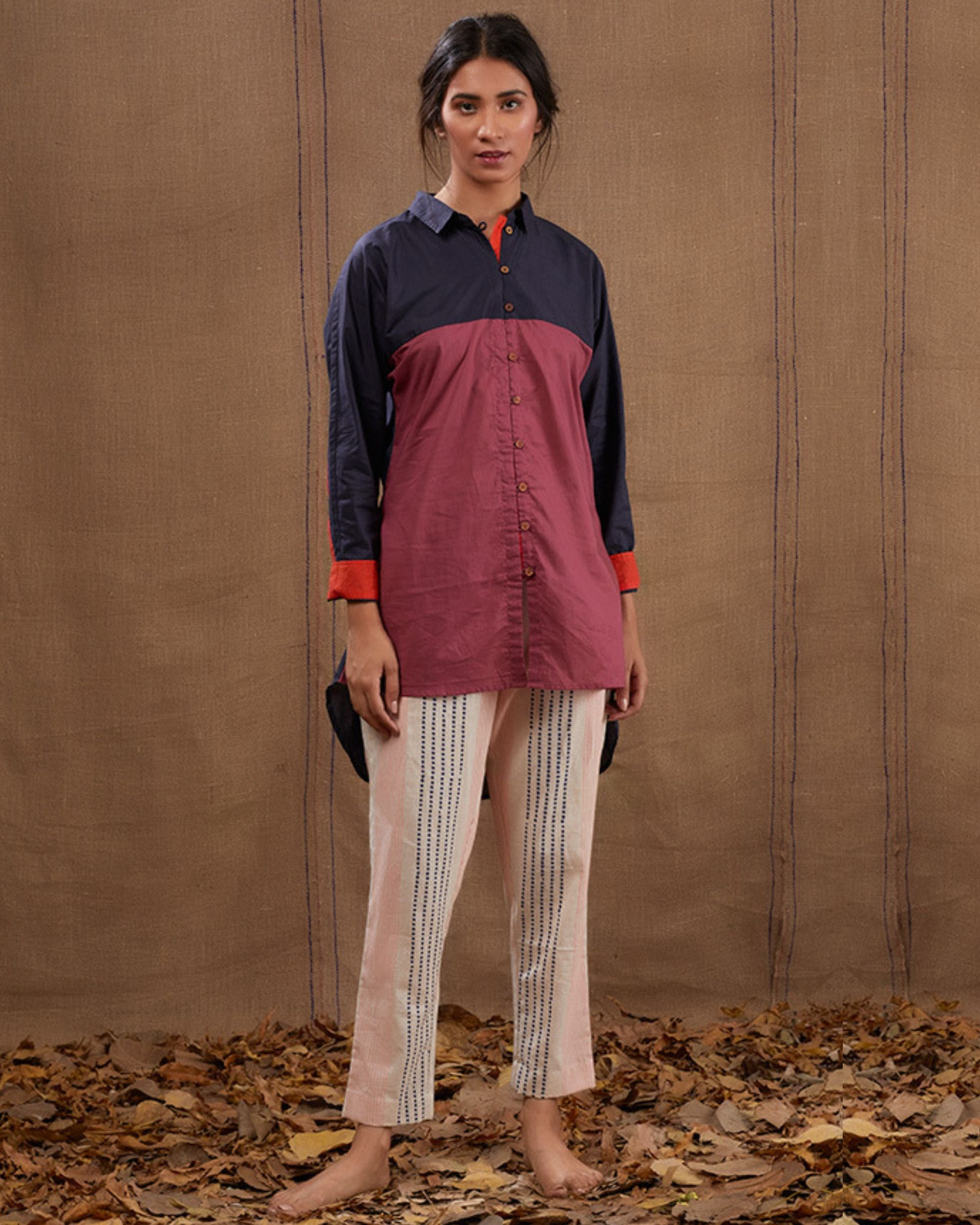 Cotton blue-pink shirt