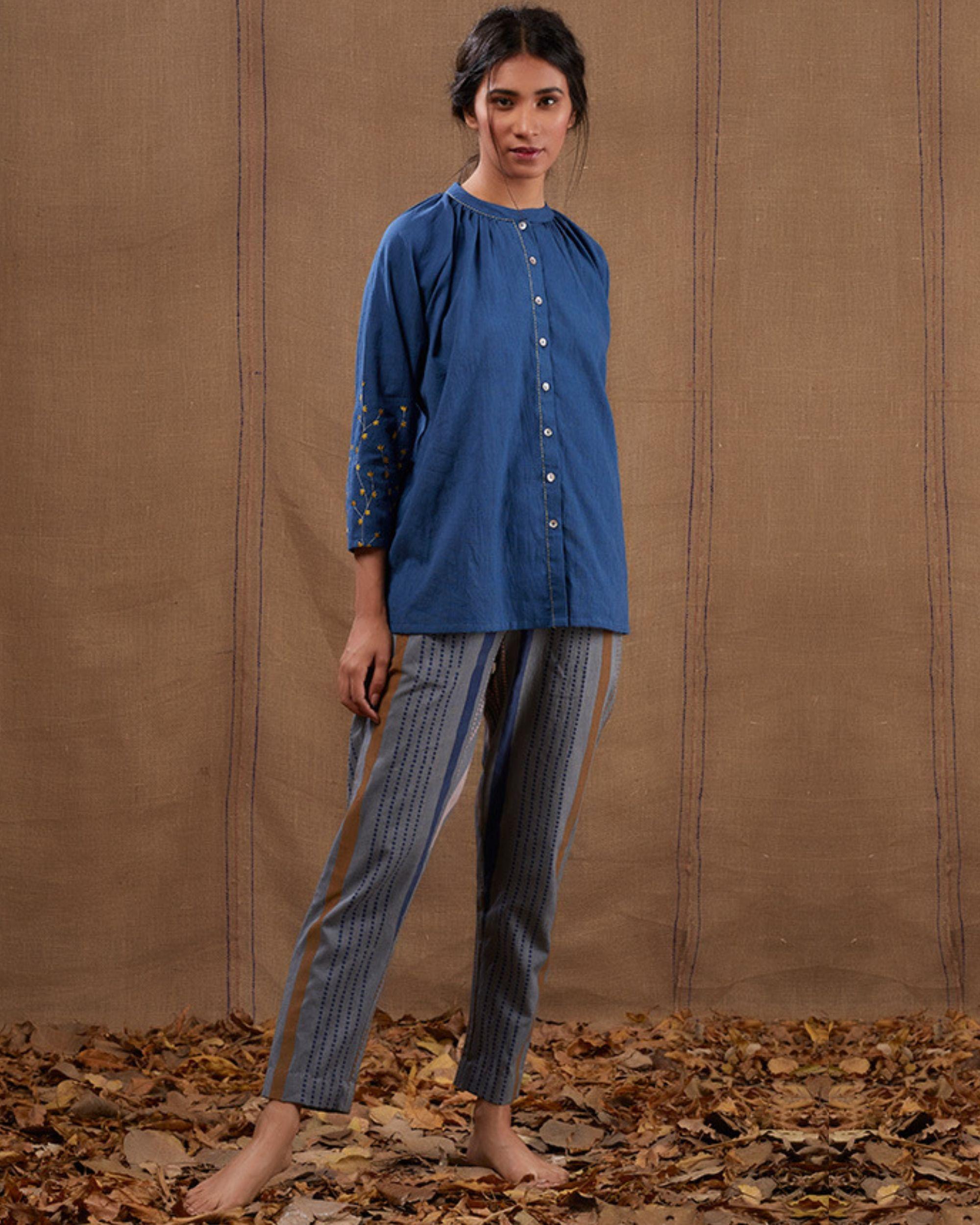 Indigo embroidered cotton top